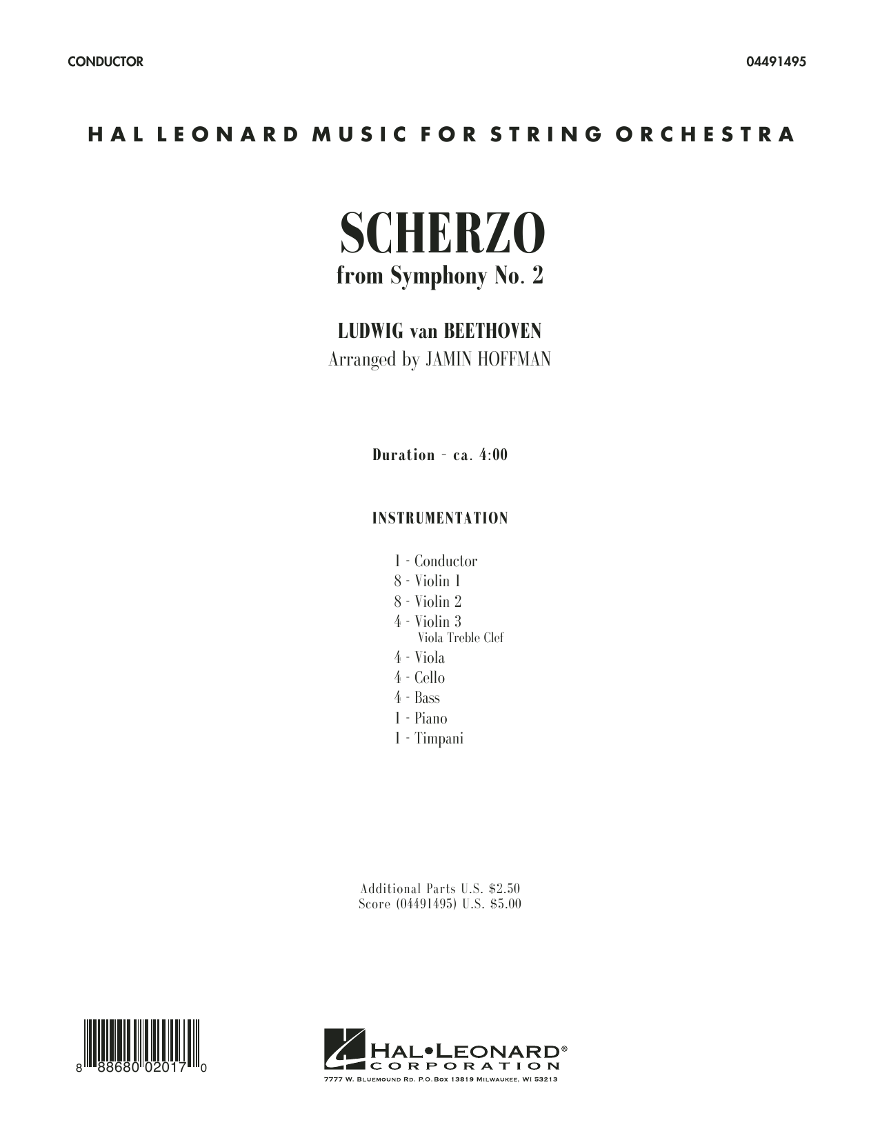 Scherzo from Symphony No. 2 (COMPLETE) sheet music for orchestra by Ludwig van Beethoven and Jamin Hoffman. Score Image Preview.