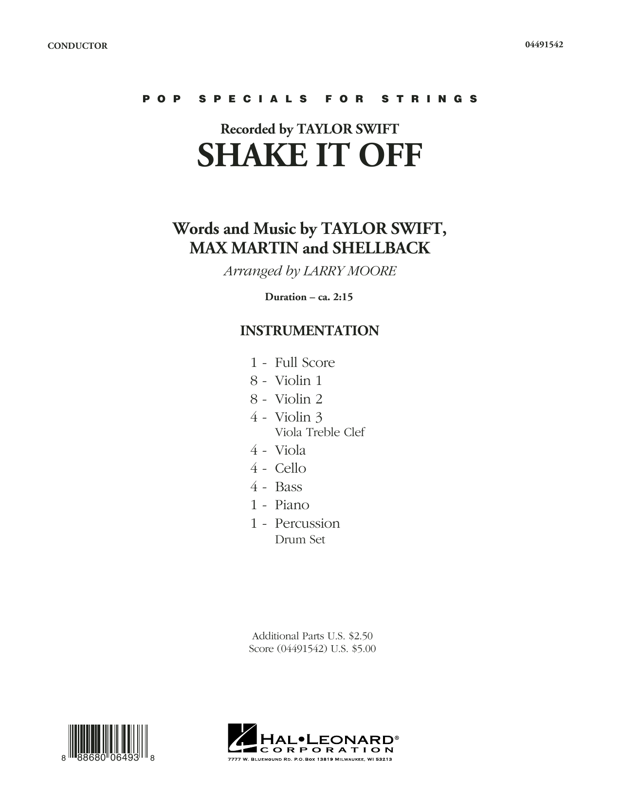 Shake It Off (COMPLETE) sheet music for orchestra by Larry Moore, Johan Schuster, Max Martin, Shellback and Taylor Swift. Score Image Preview.