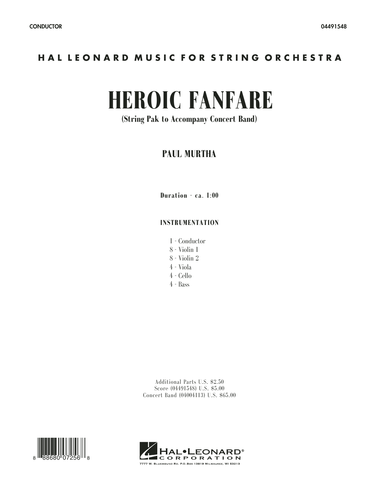 Heroic Fanfare (COMPLETE) sheet music for orchestra by Paul Murtha. Score Image Preview.
