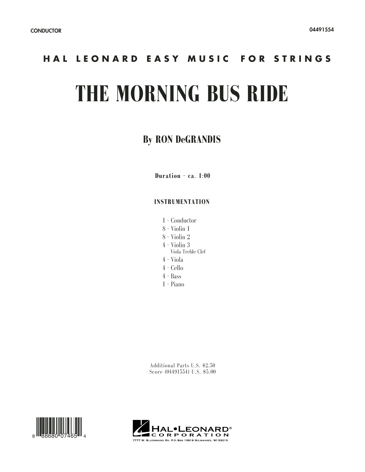 The Morning Bus Ride (COMPLETE) sheet music for orchestra by Ron DeGrandis. Score Image Preview.