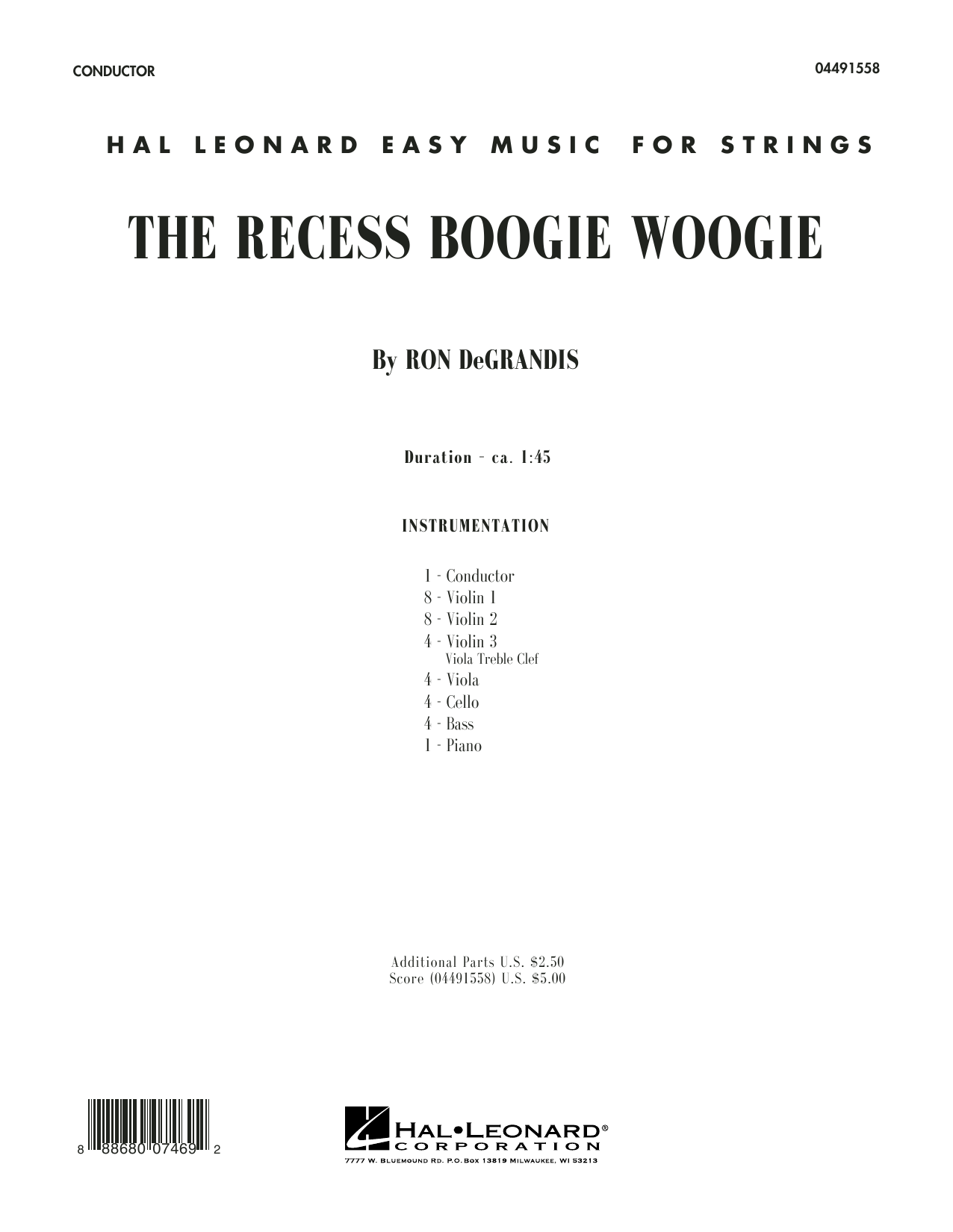 The Recess Boogie Woogie (COMPLETE) sheet music for orchestra by Ron DeGrandis. Score Image Preview.