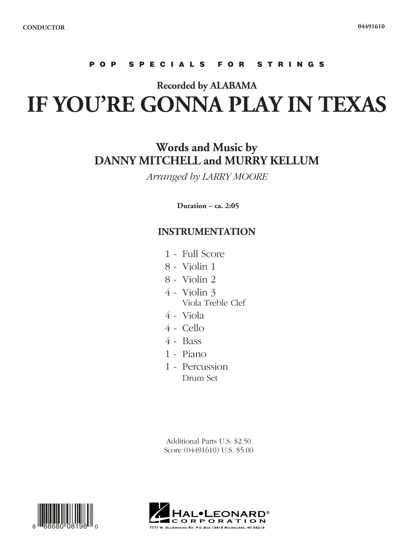 If You're Gonna Play in Texas (You Gotta Have a Fiddle in the Band) (COMPLETE) sheet music for orchestra by Murry Kellum, Alabama and Larry Moore. Score Image Preview.