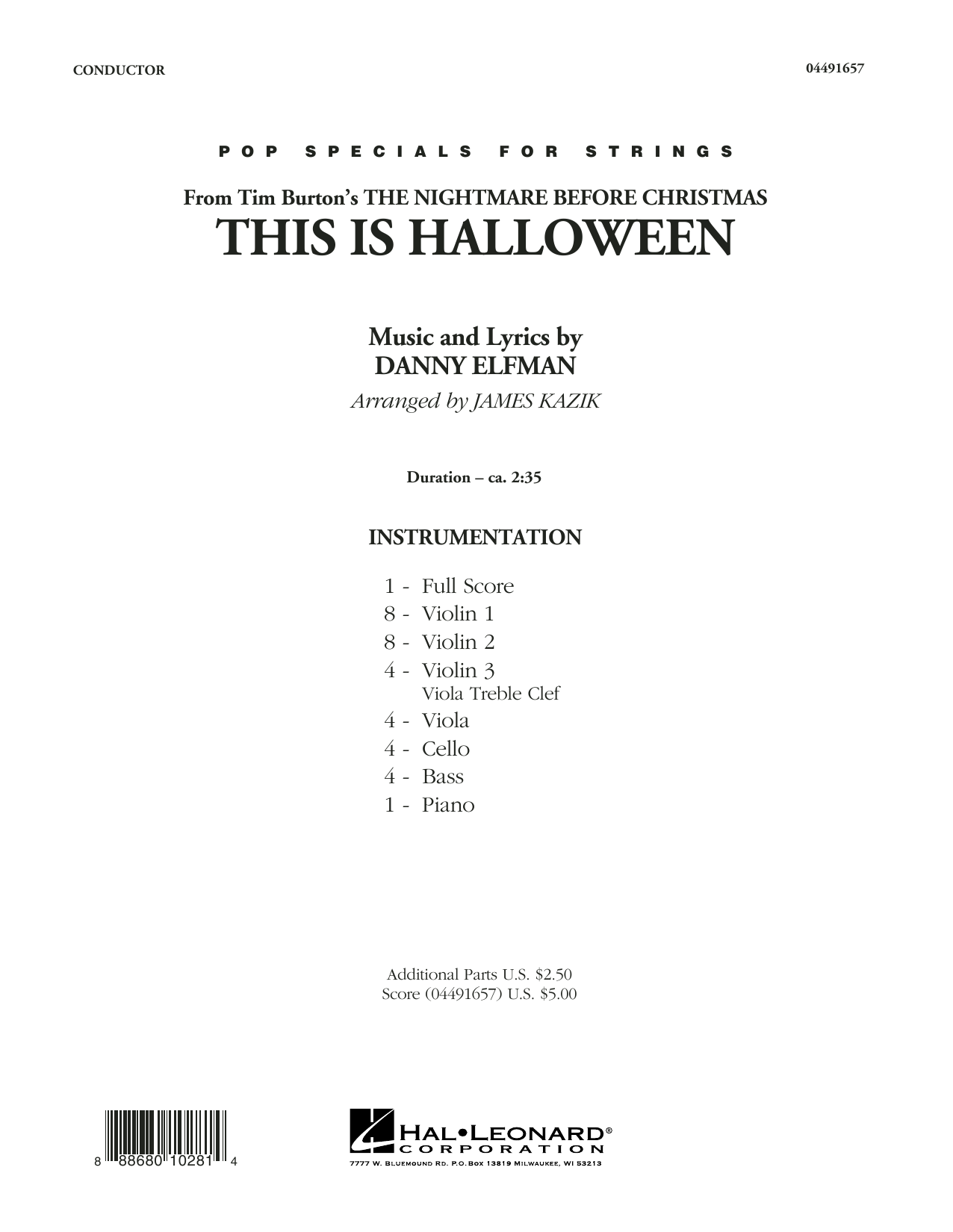 This Is Halloween (COMPLETE) sheet music for orchestra by Danny Elfman and James Kazik. Score Image Preview.