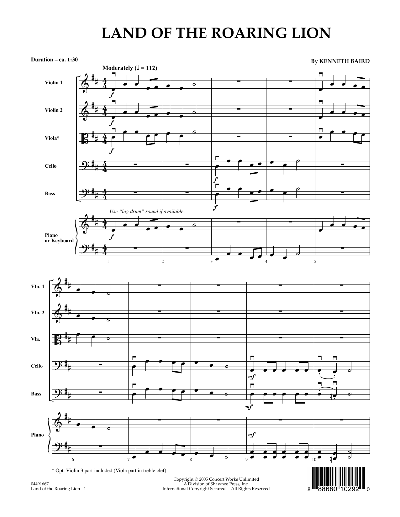 Land of the Roaring Lion (COMPLETE) sheet music for orchestra by Kenneth Baird. Score Image Preview.