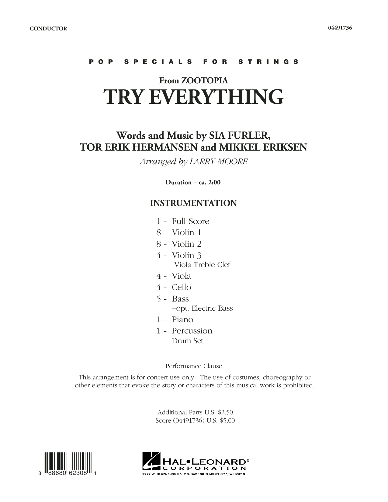 Try Everything (from Zootopia) (COMPLETE) sheet music for orchestra by Tor Erik Hermansen, Larry Moore, Mikkel Eriksen, Shakira and Sia Furler. Score Image Preview.