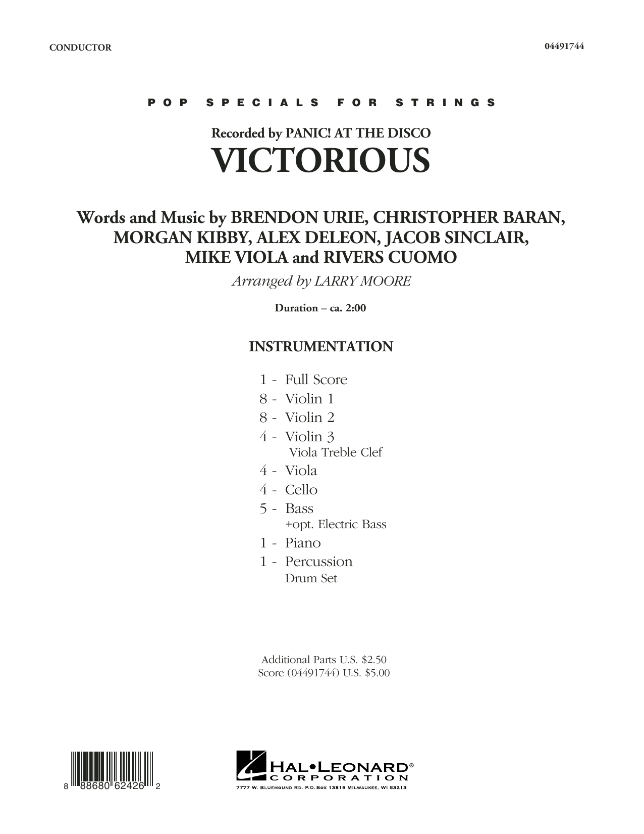 Victorious (COMPLETE) sheet music for orchestra by Brendon Urie, Larry Moore and Morgan Kibby. Score Image Preview.