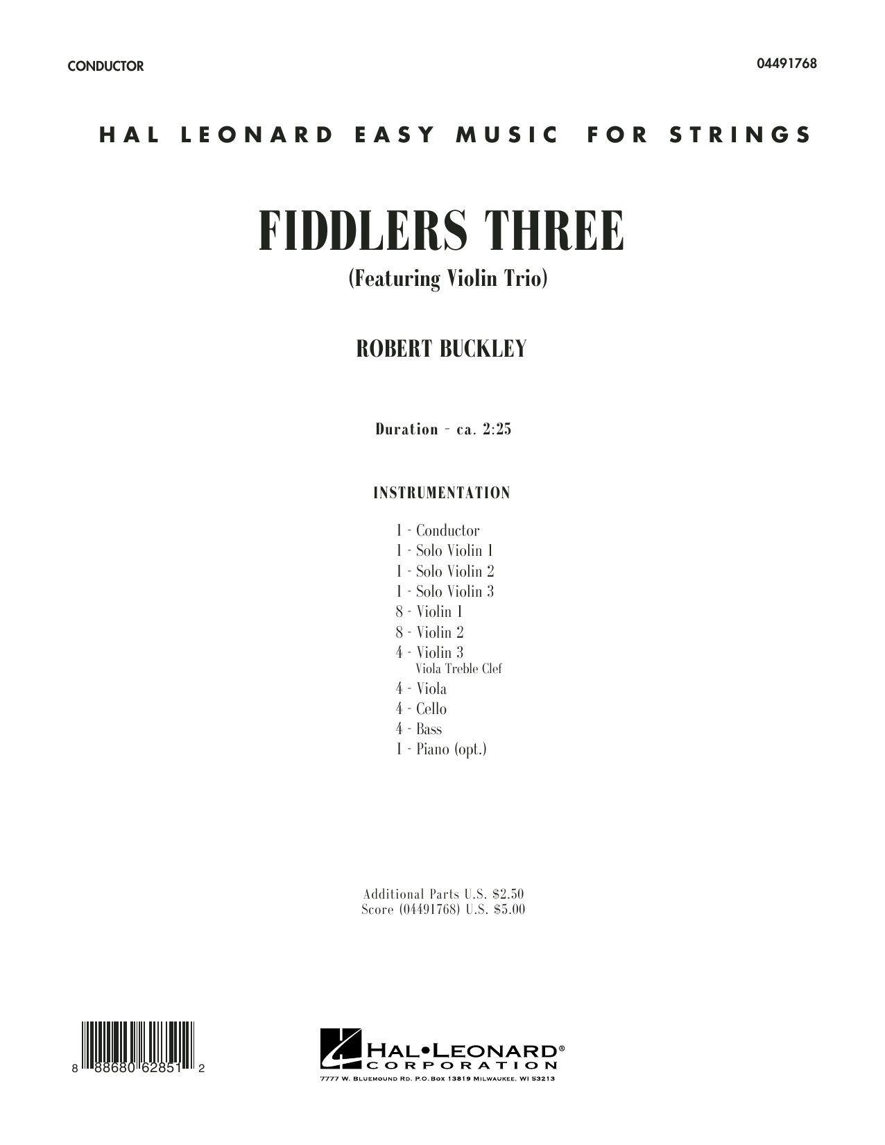 Fiddlers Three (COMPLETE) sheet music for orchestra by Robert Buckley. Score Image Preview.