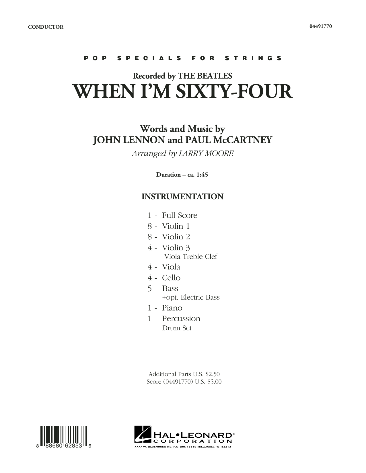 When I'm Sixty-Four (COMPLETE) sheet music for orchestra by Larry Moore, John Lennon, Paul McCartney and The Beatles. Score Image Preview.