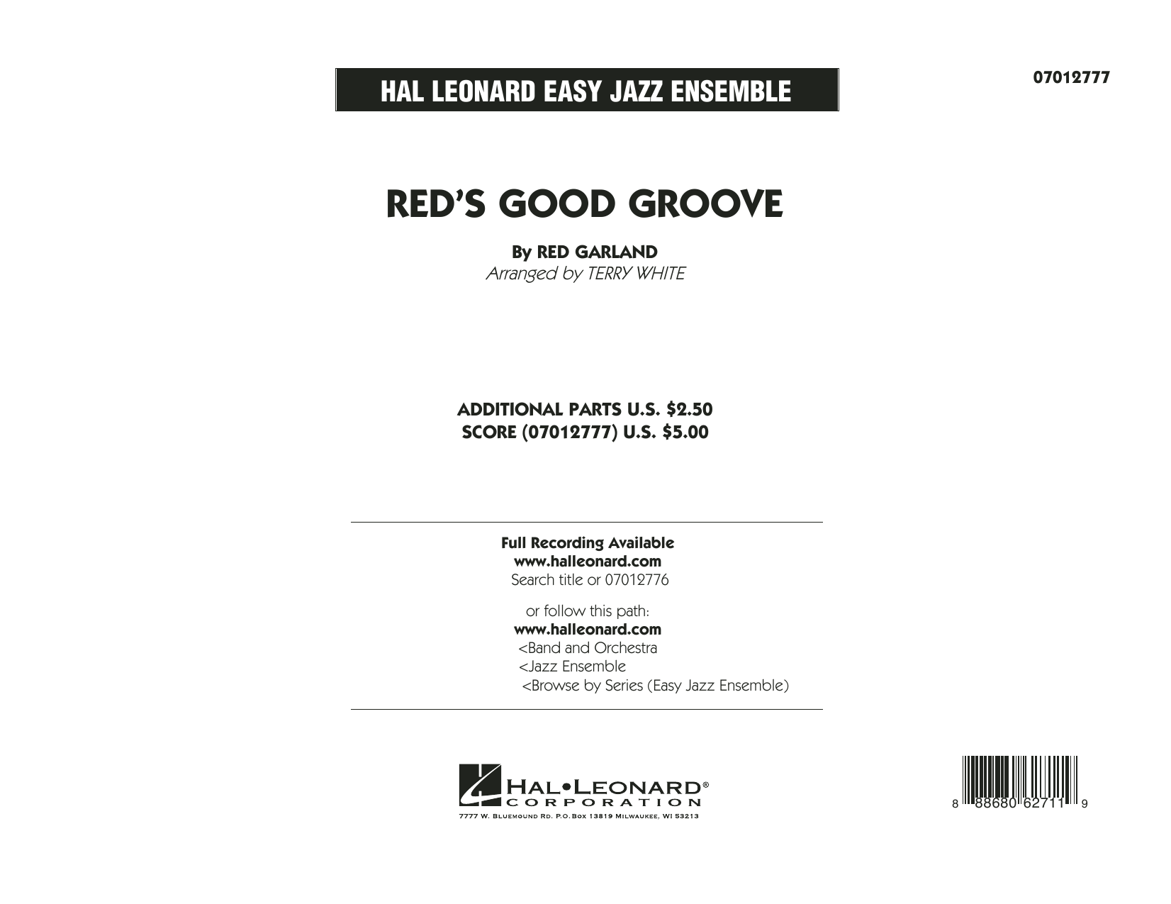 Red's Good Groove (COMPLETE) sheet music for jazz band by Terry White and Red Garland. Score Image Preview.
