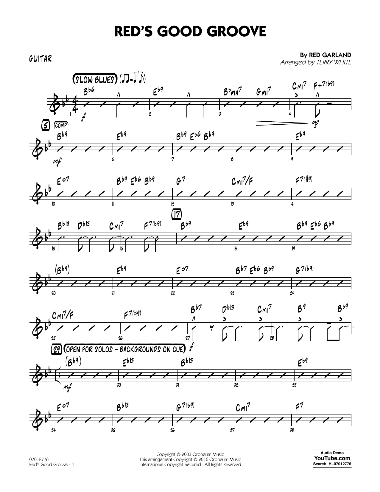 Red's Good Groove - Guitar (Jazz Ensemble)