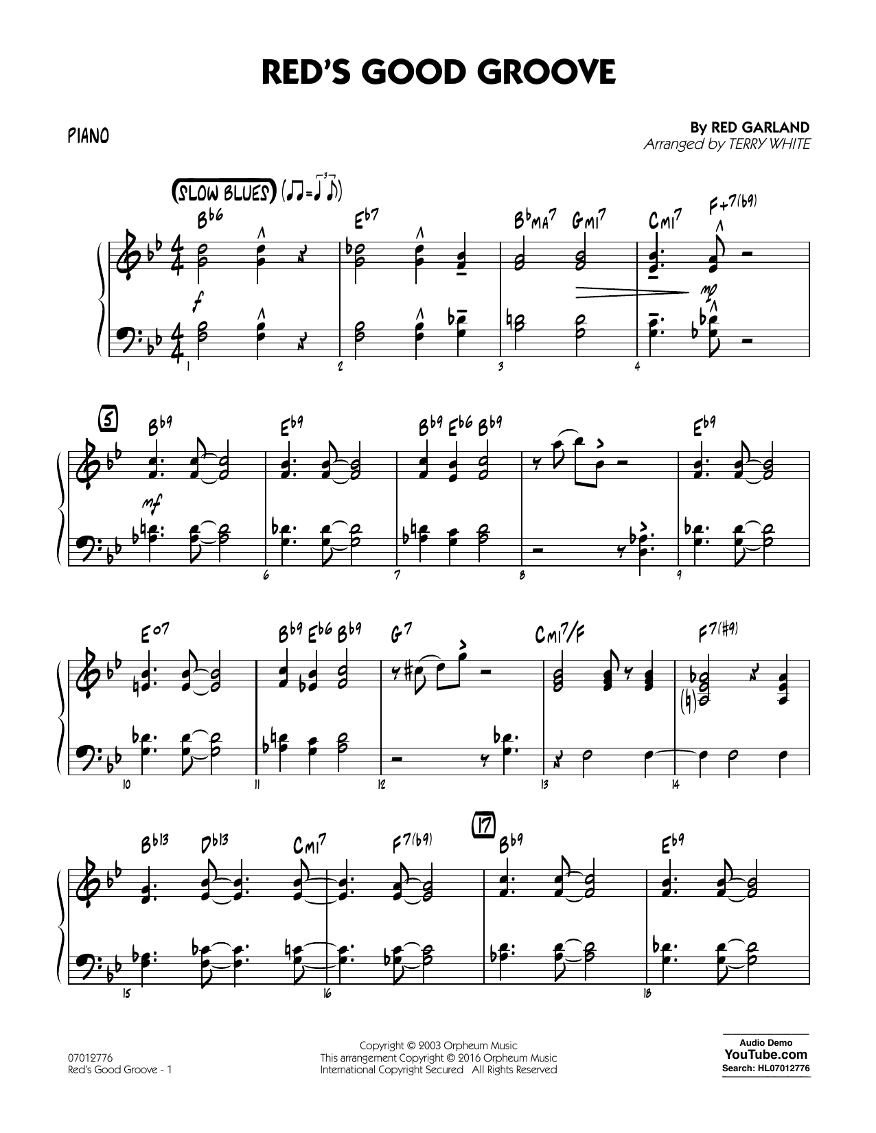 Red's Good Groove - Piano (Jazz Ensemble)