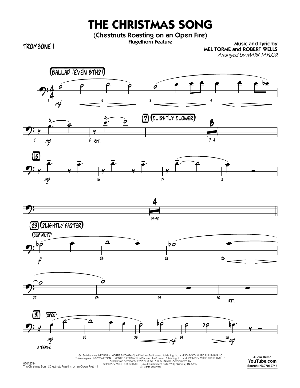 The Christmas Song (Chestnuts Roasting on an Open Fire) - Trombone 1 (Jazz Ensemble)