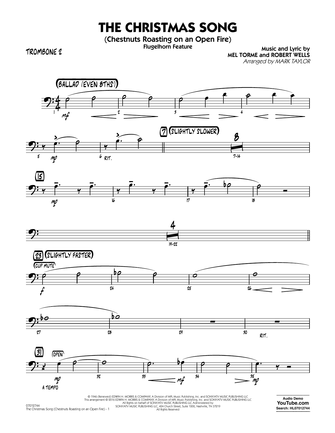 The Christmas Song (Chestnuts Roasting on an Open Fire) - Trombone 2 (Jazz Ensemble)
