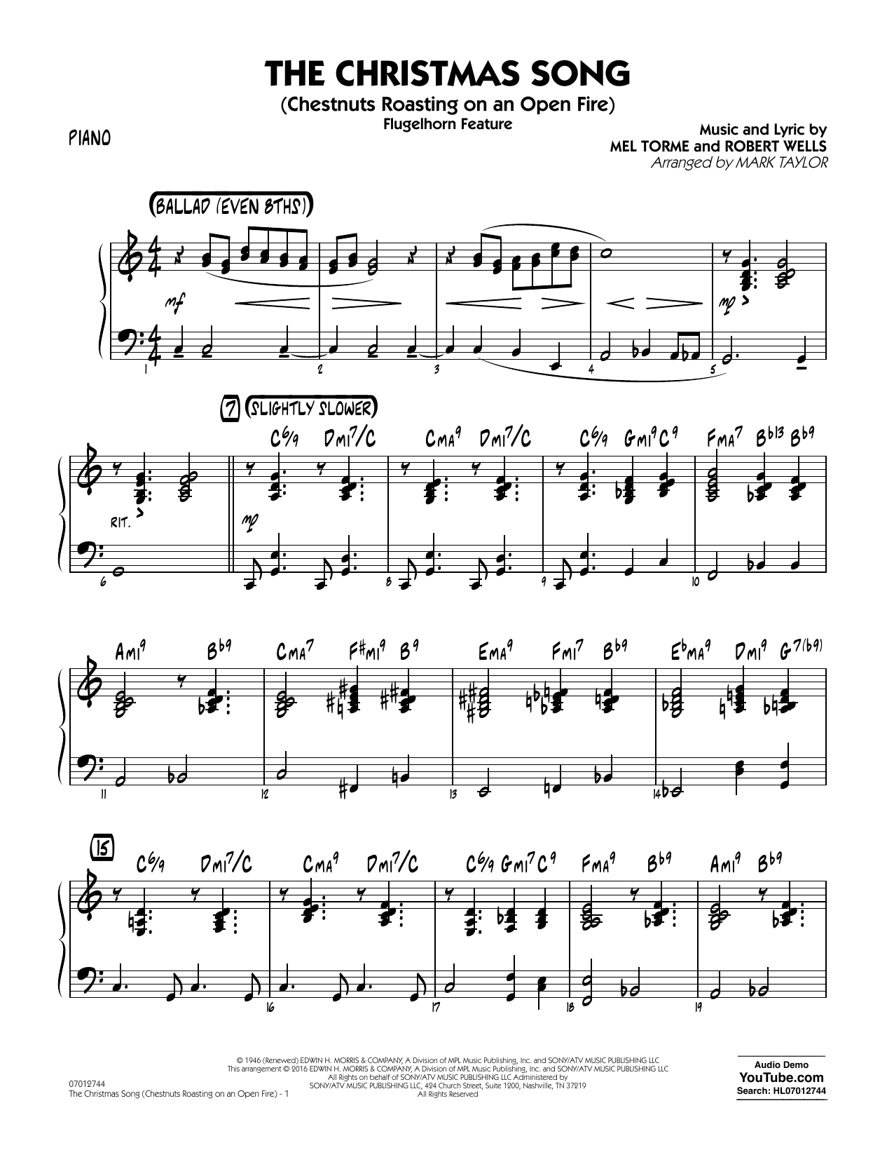 The Christmas Song (Chestnuts Roasting on an Open Fire) - Piano (Jazz Ensemble)