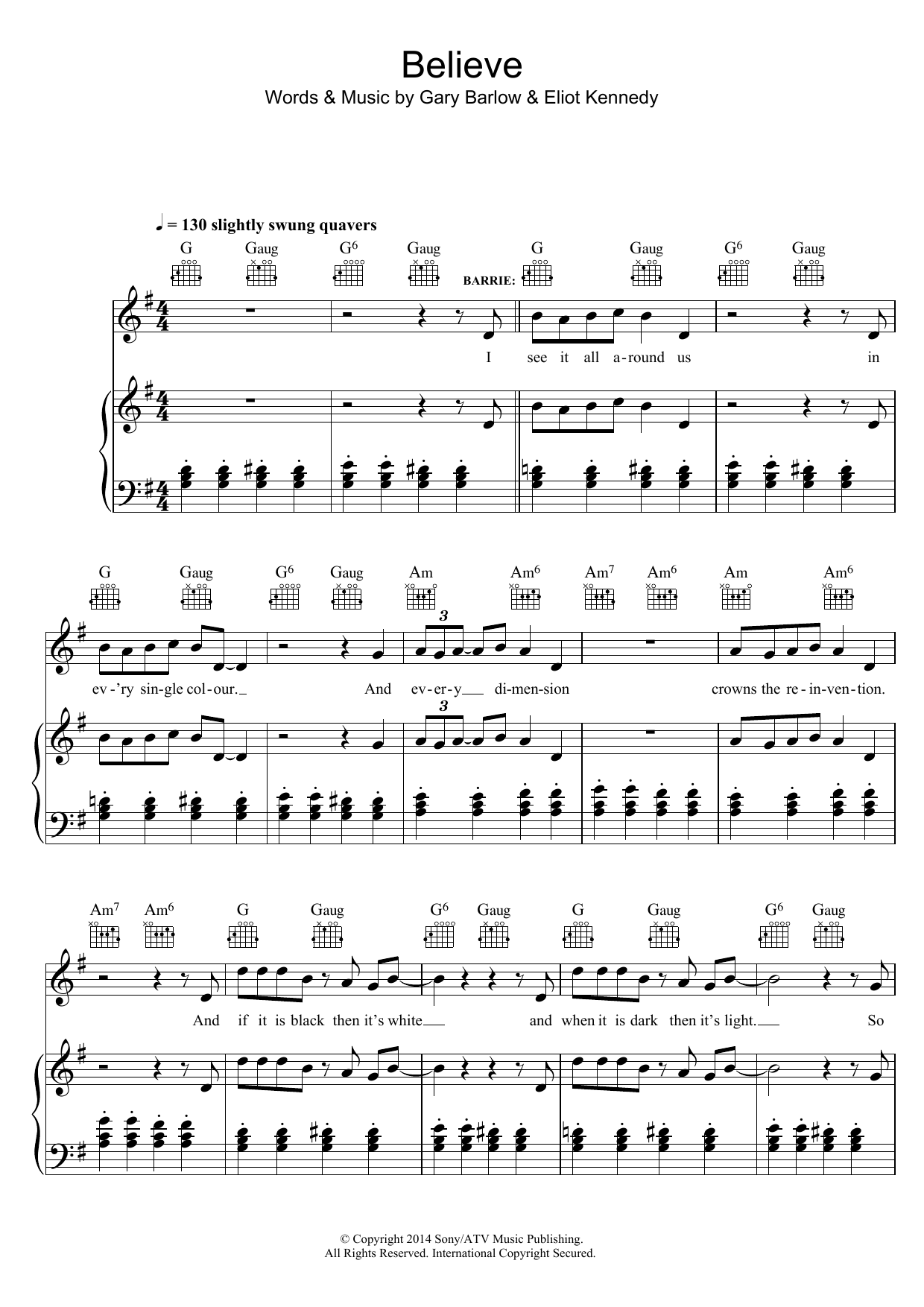 Believe (from 'Finding Neverland') Sheet Music