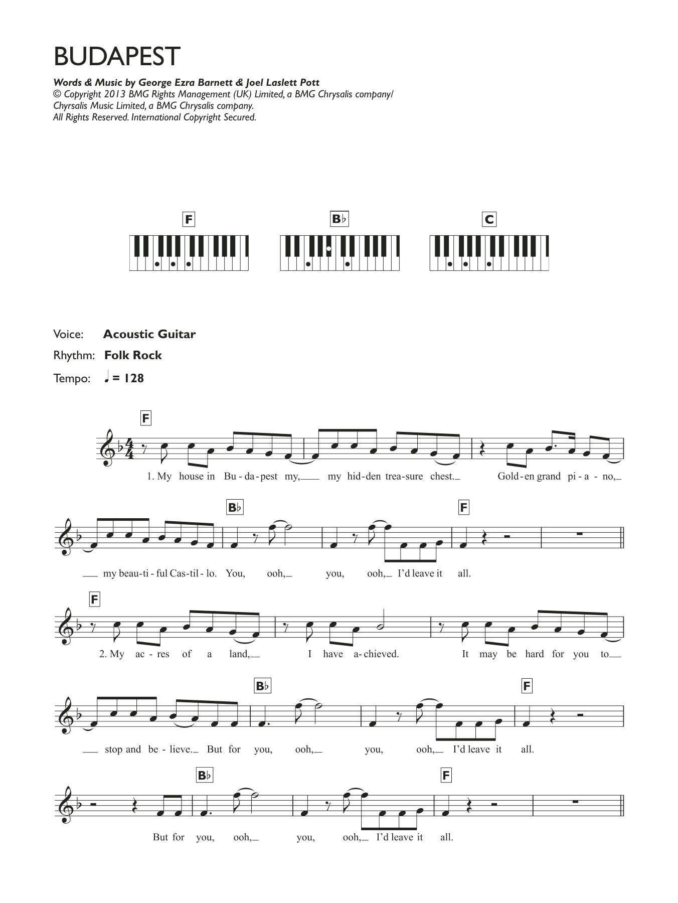 Budapest Sheet Music