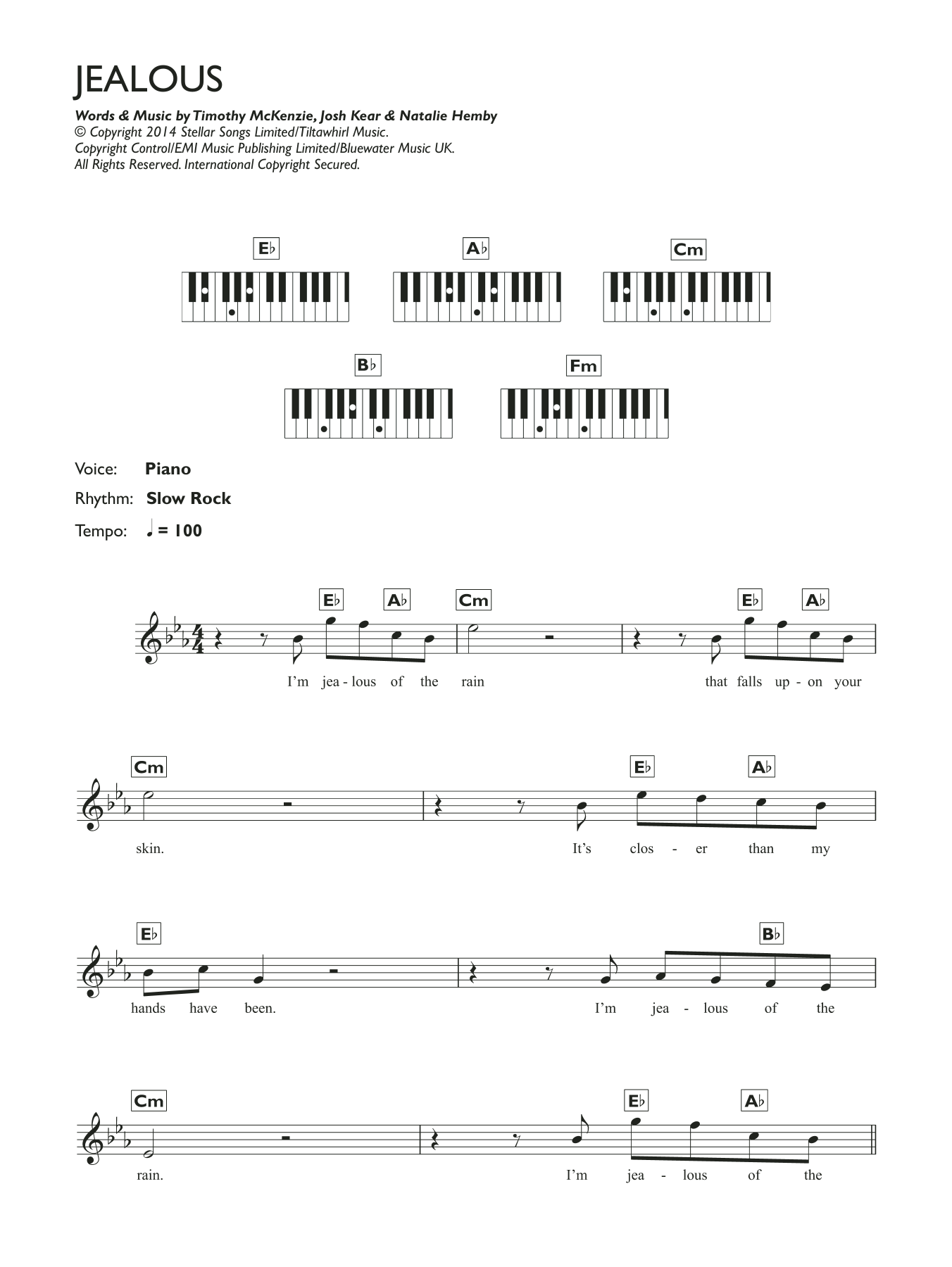 Jealous Sheet Music