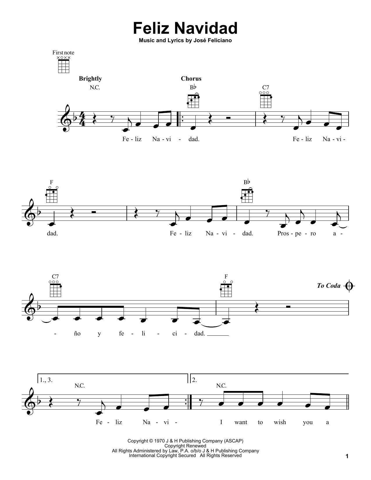 feliz navidad by jose feliciano ukulele guitar instructor feliz navidad by jose feliciano