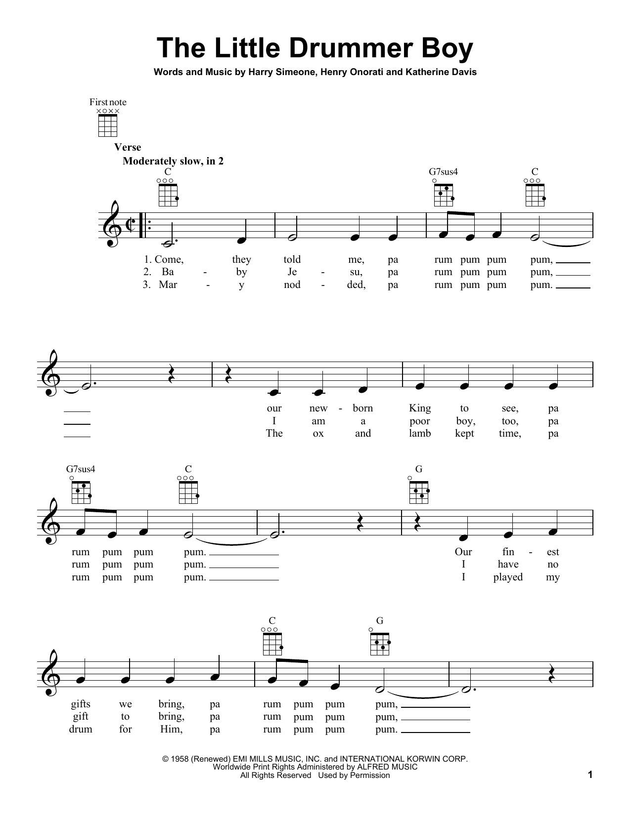 Tablature guitare The Little Drummer Boy de Harry Simeone - Ukulele
