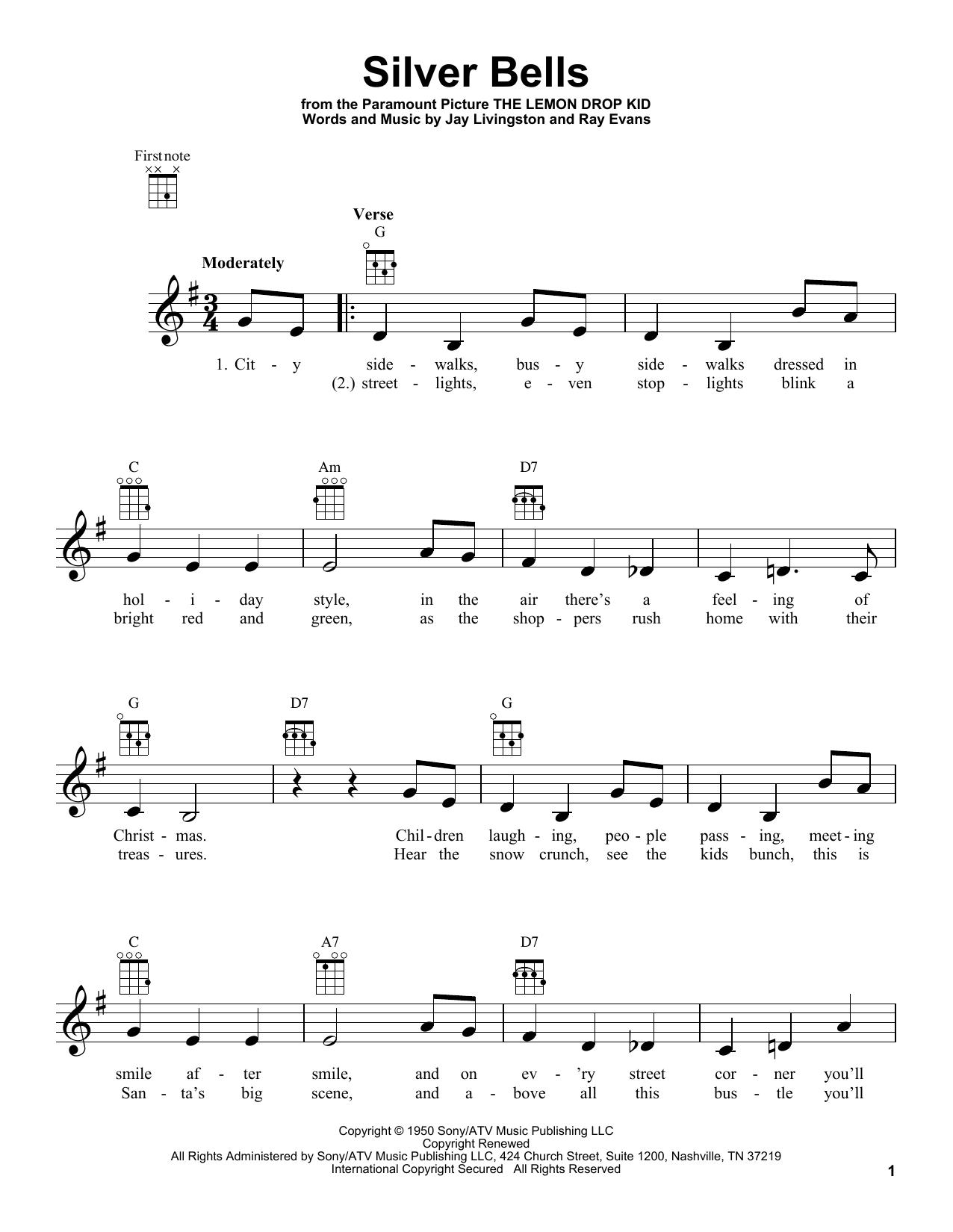 Tablature guitare Silver Bells de Ray Evans - Ukulele