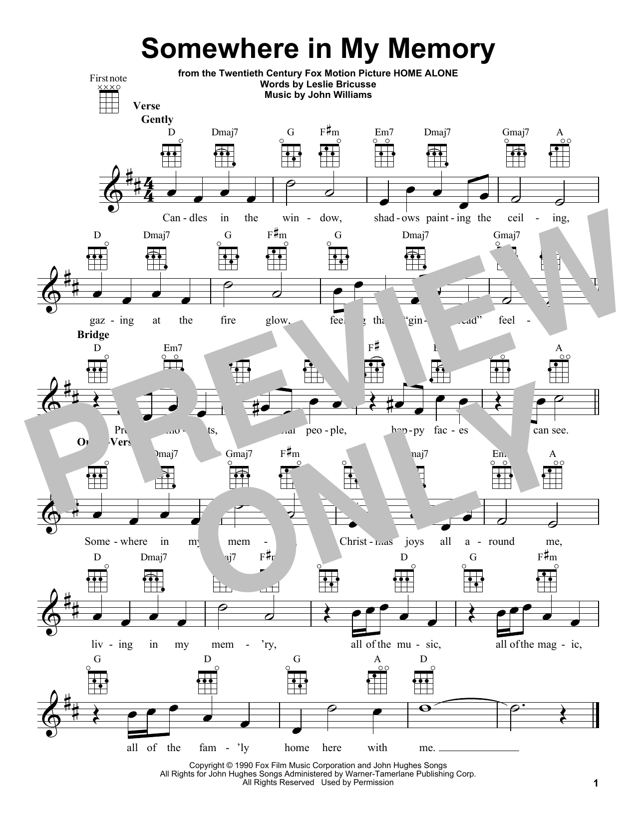 Somewhere In My Memory By John Williams Ukulele Guitar Instructor Diagram The Most Accurate Tab