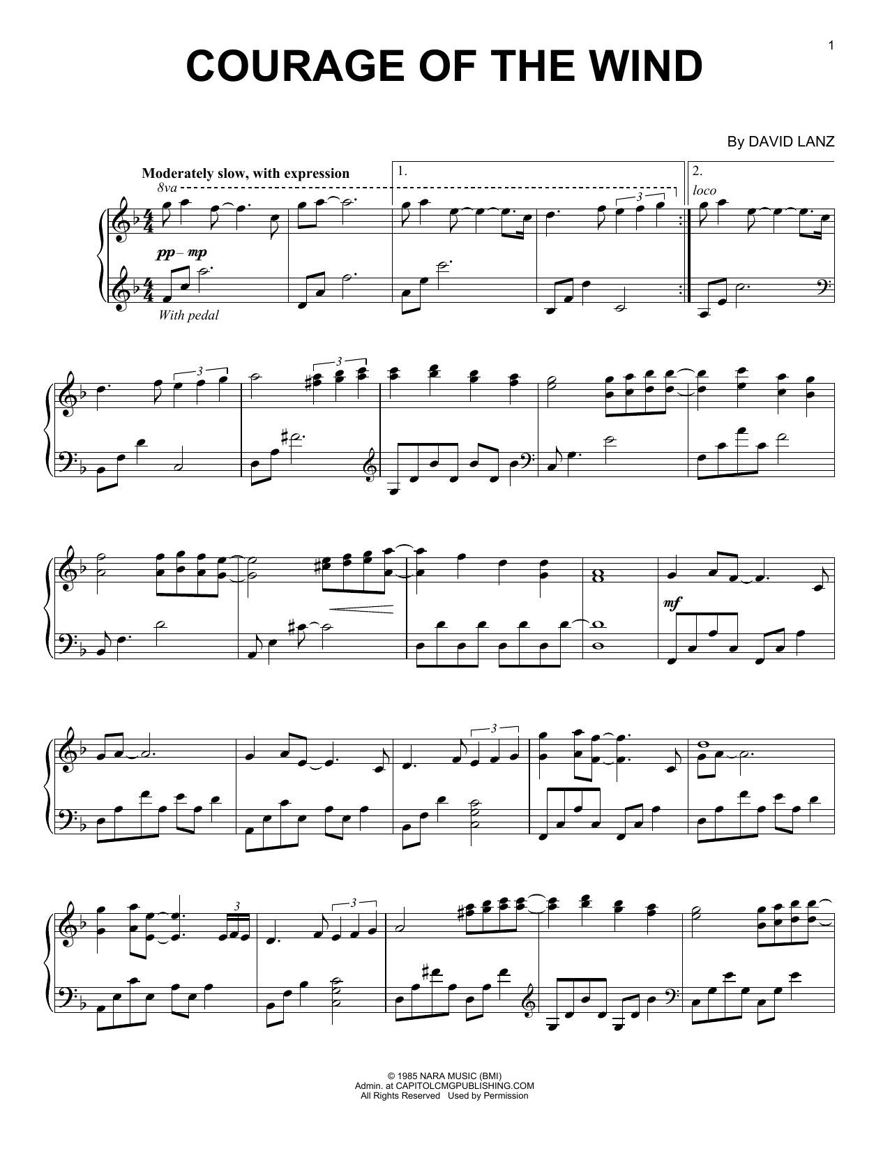 Partition piano Courage Of The Wind de David Lanz - Piano Solo