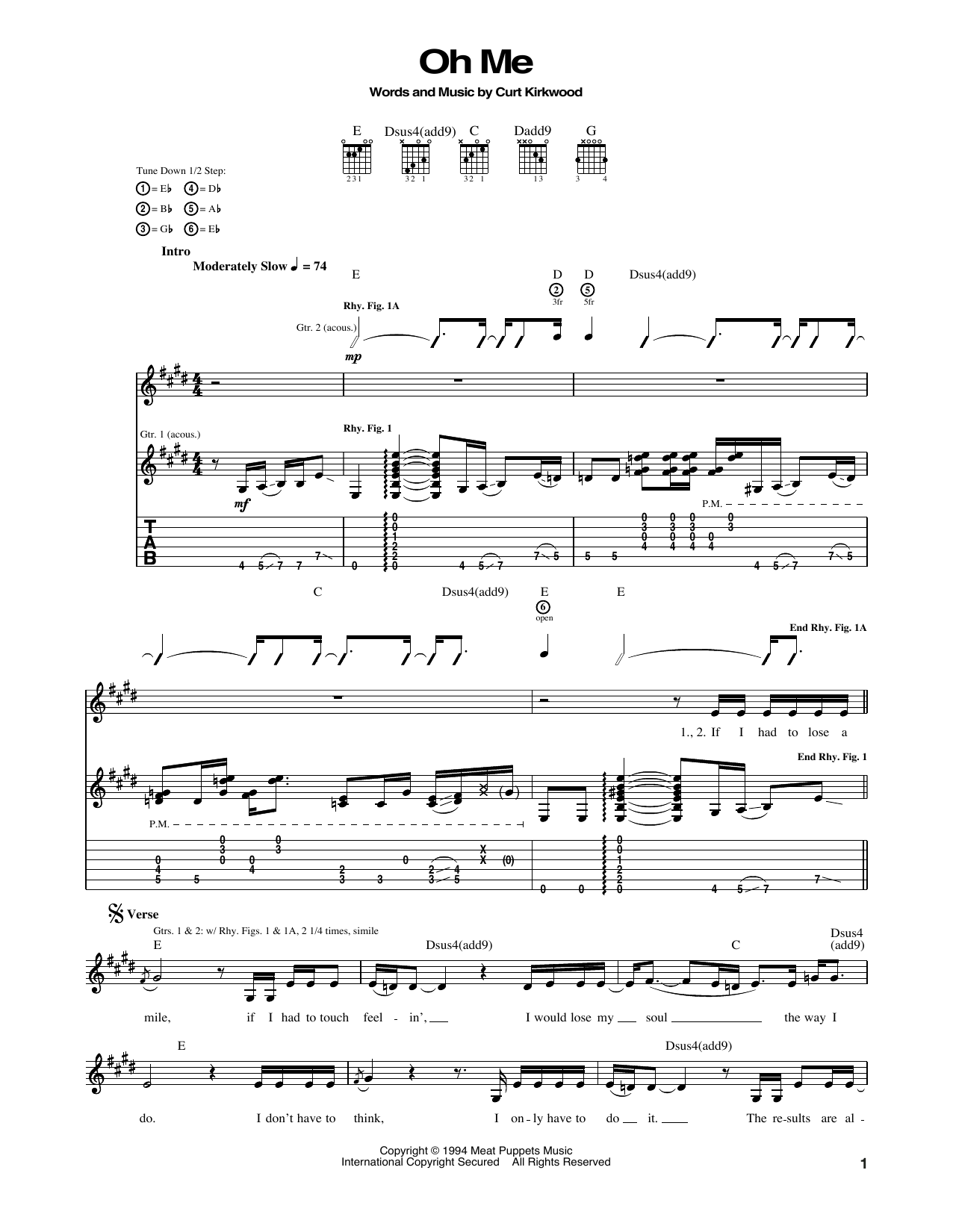 Oh Me Sheet Music