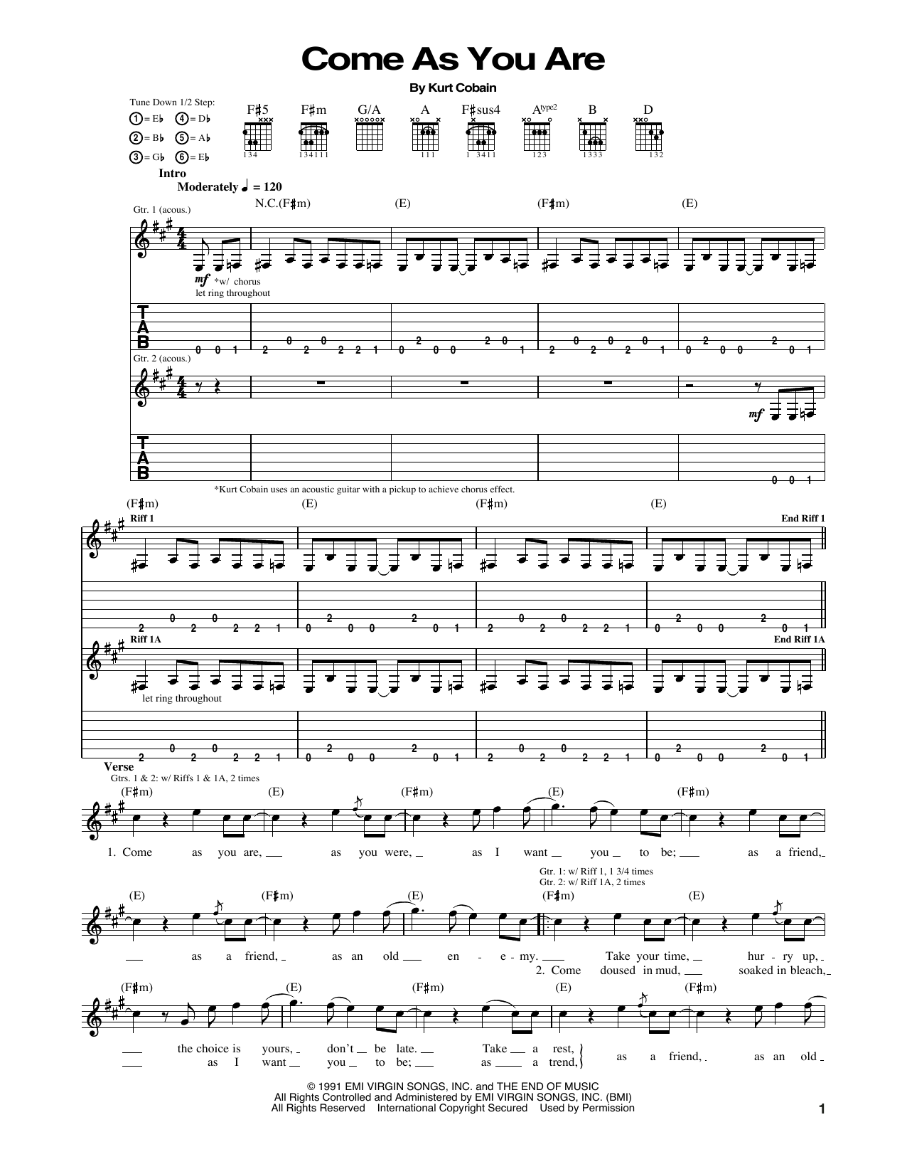 Come As You Are Sheet Music