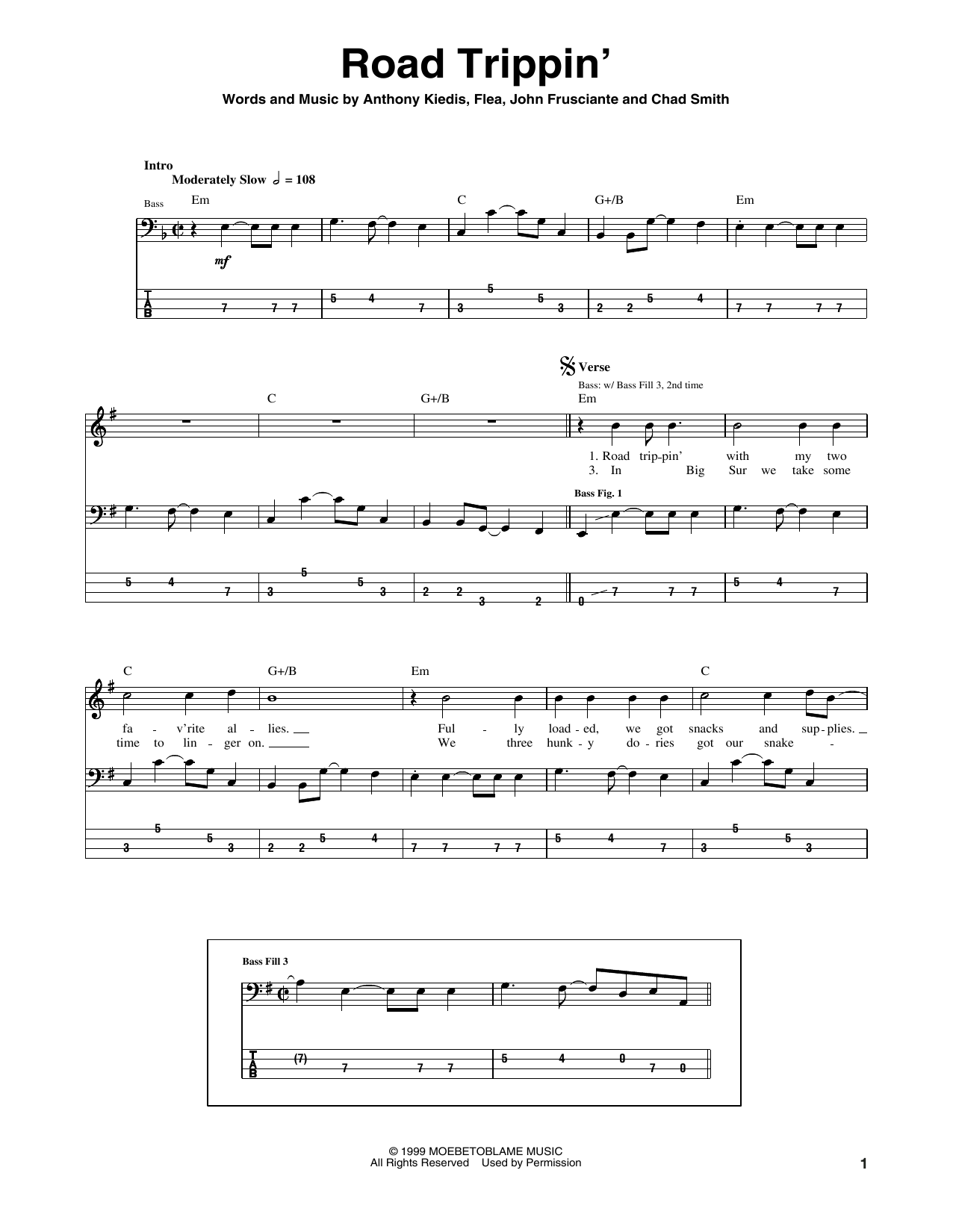 Road Trippin' (Bass Guitar Tab)