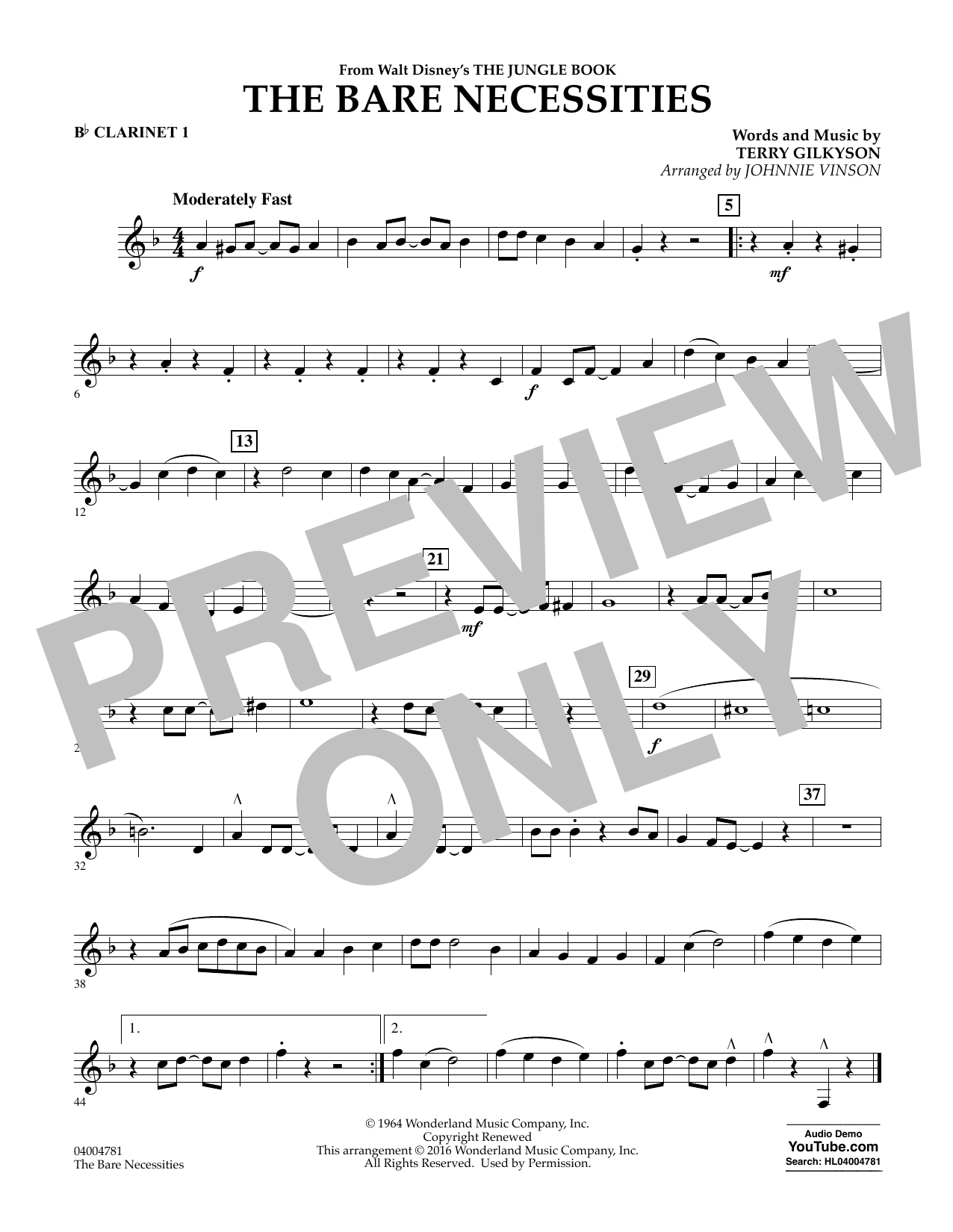 The Bare Necessities - Bb Clarinet 1 (Concert Band)