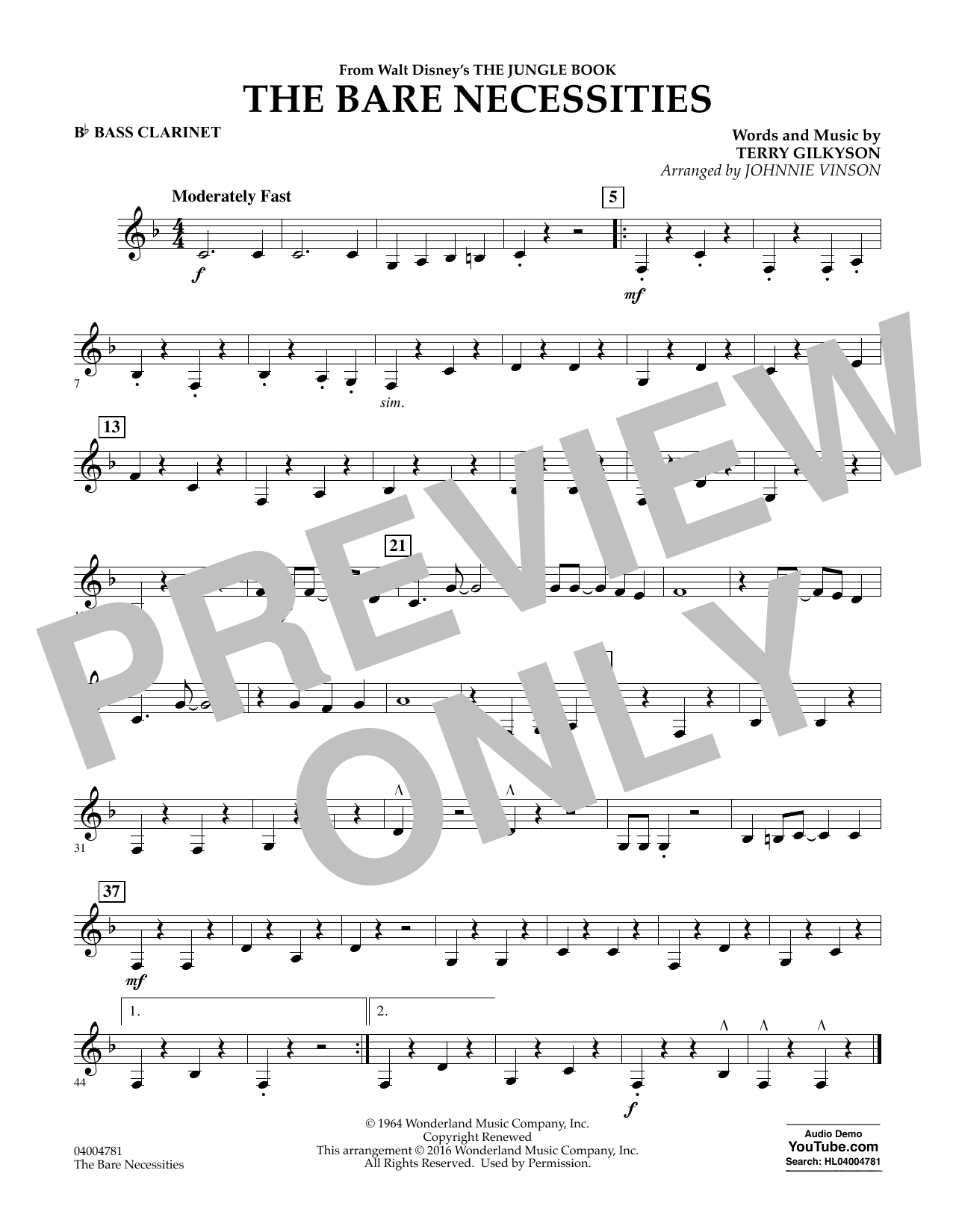 The Bare Necessities - Bb Bass Clarinet (Concert Band)