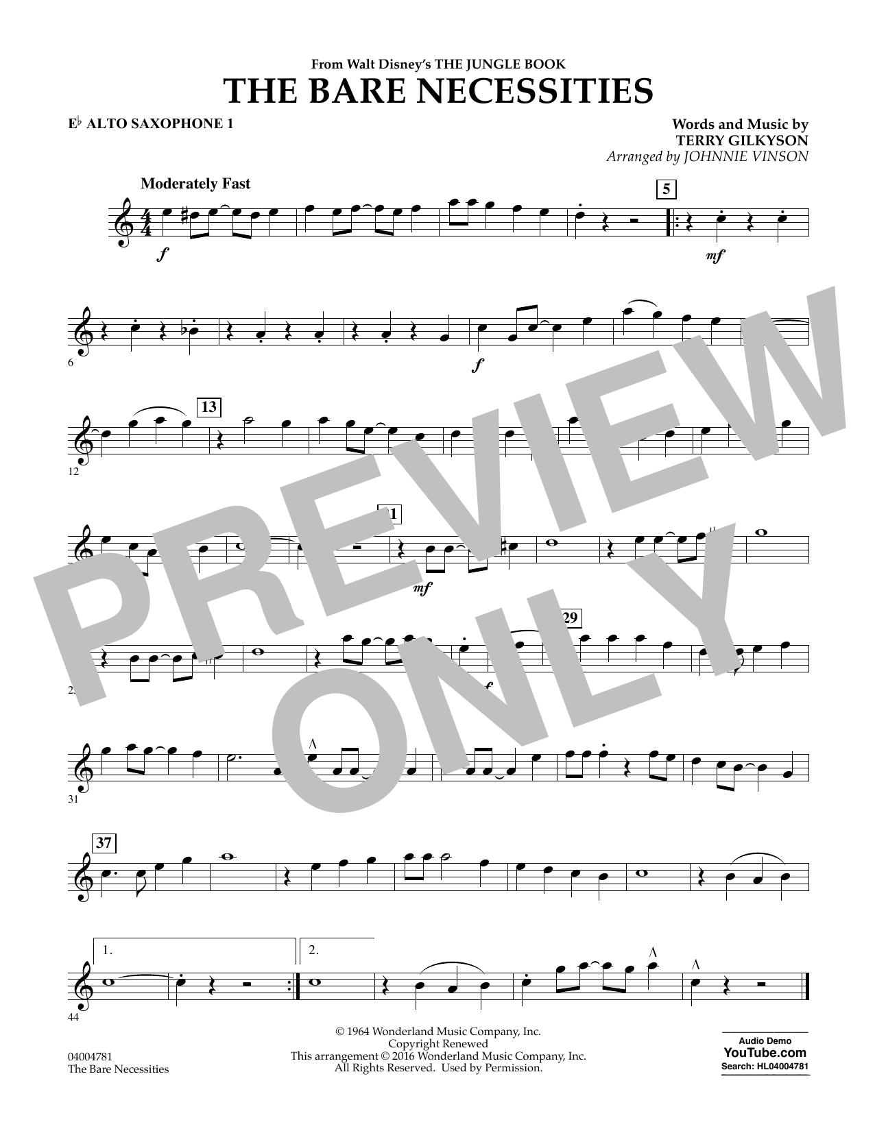 The Bare Necessities - Eb Alto Saxophone 1 (Concert Band)