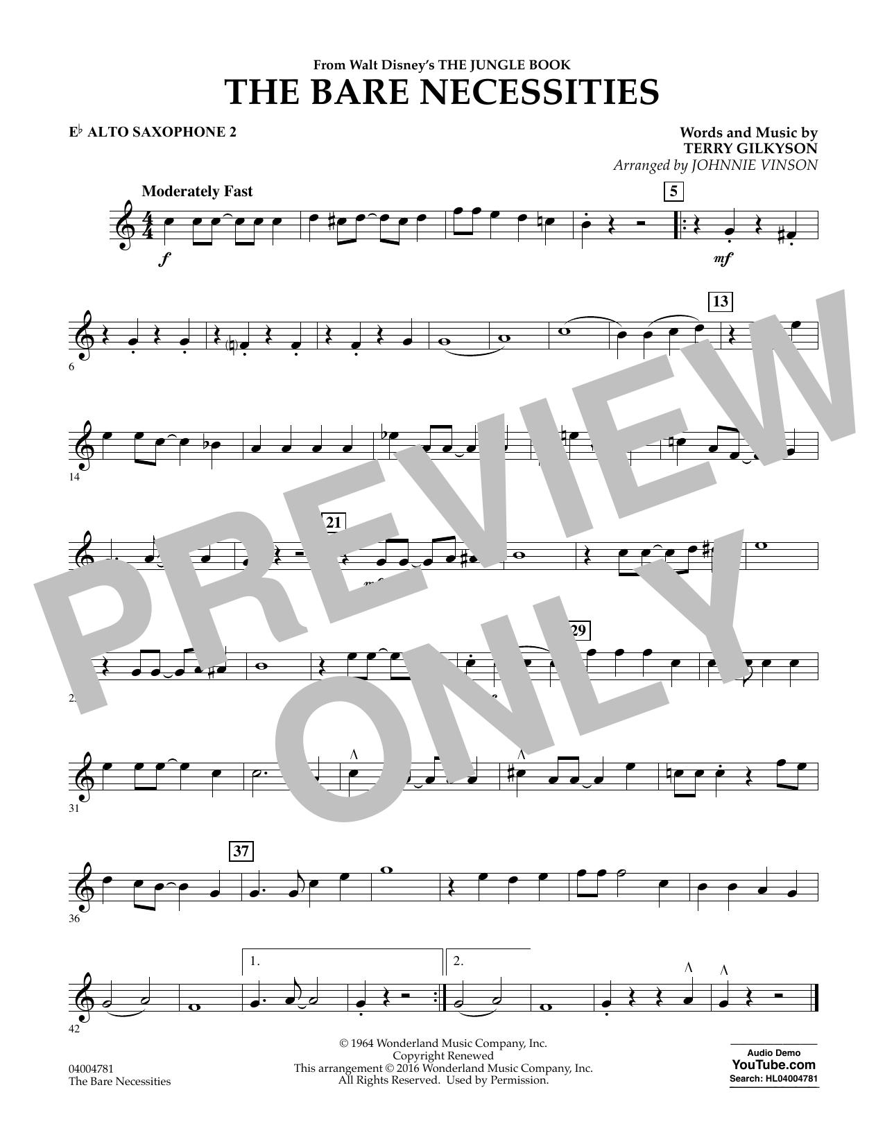 The Bare Necessities - Eb Alto Saxophone 2 (Concert Band)