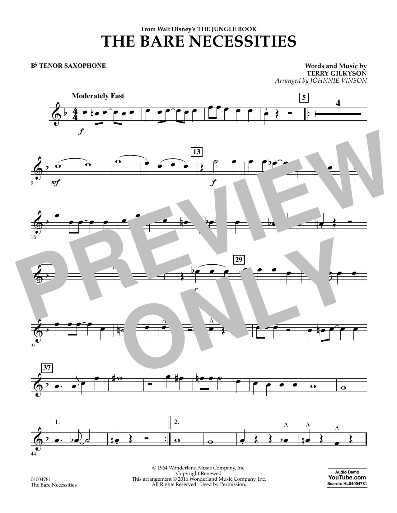 The Bare Necessities - Bb Tenor Saxophone (Concert Band)
