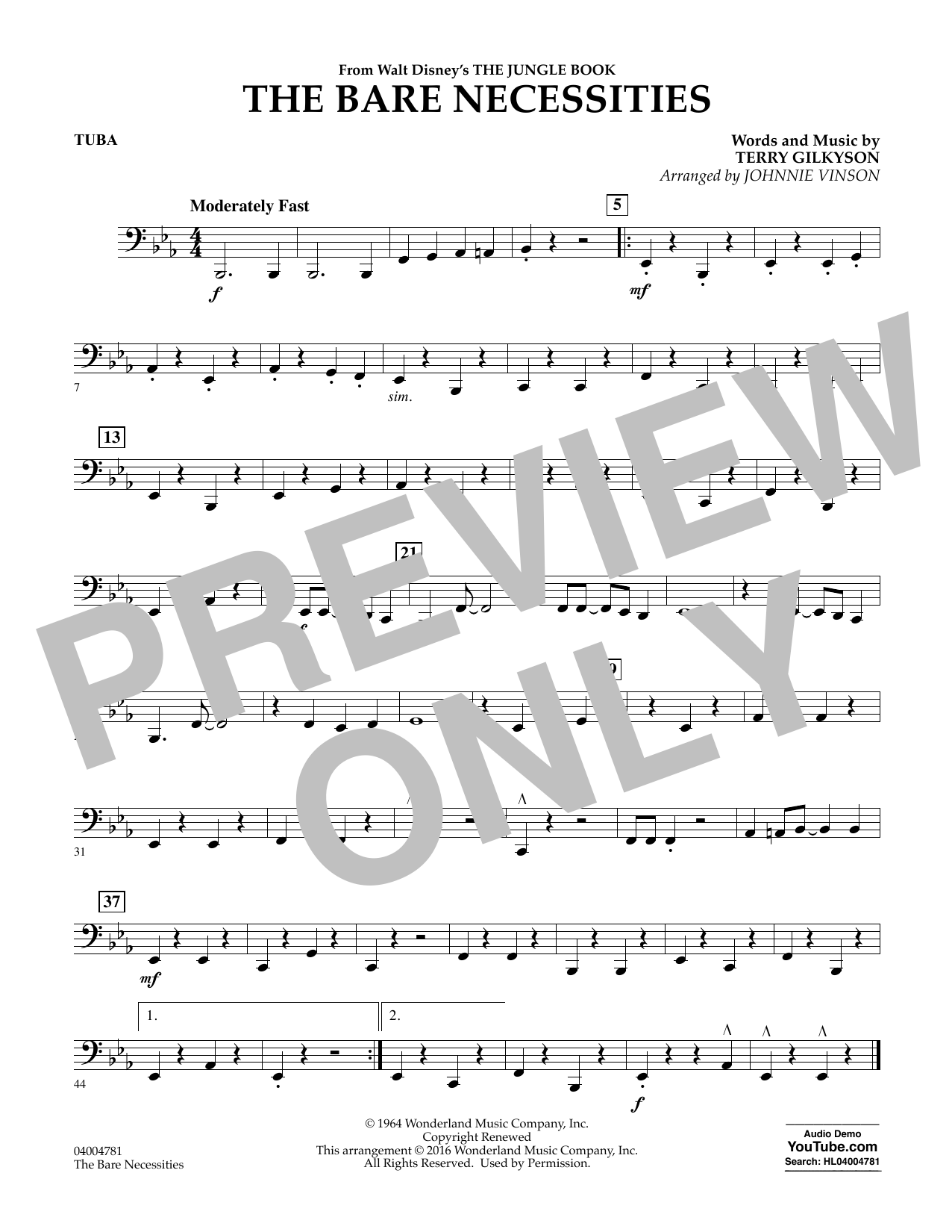 The Bare Necessities - Tuba (Concert Band)