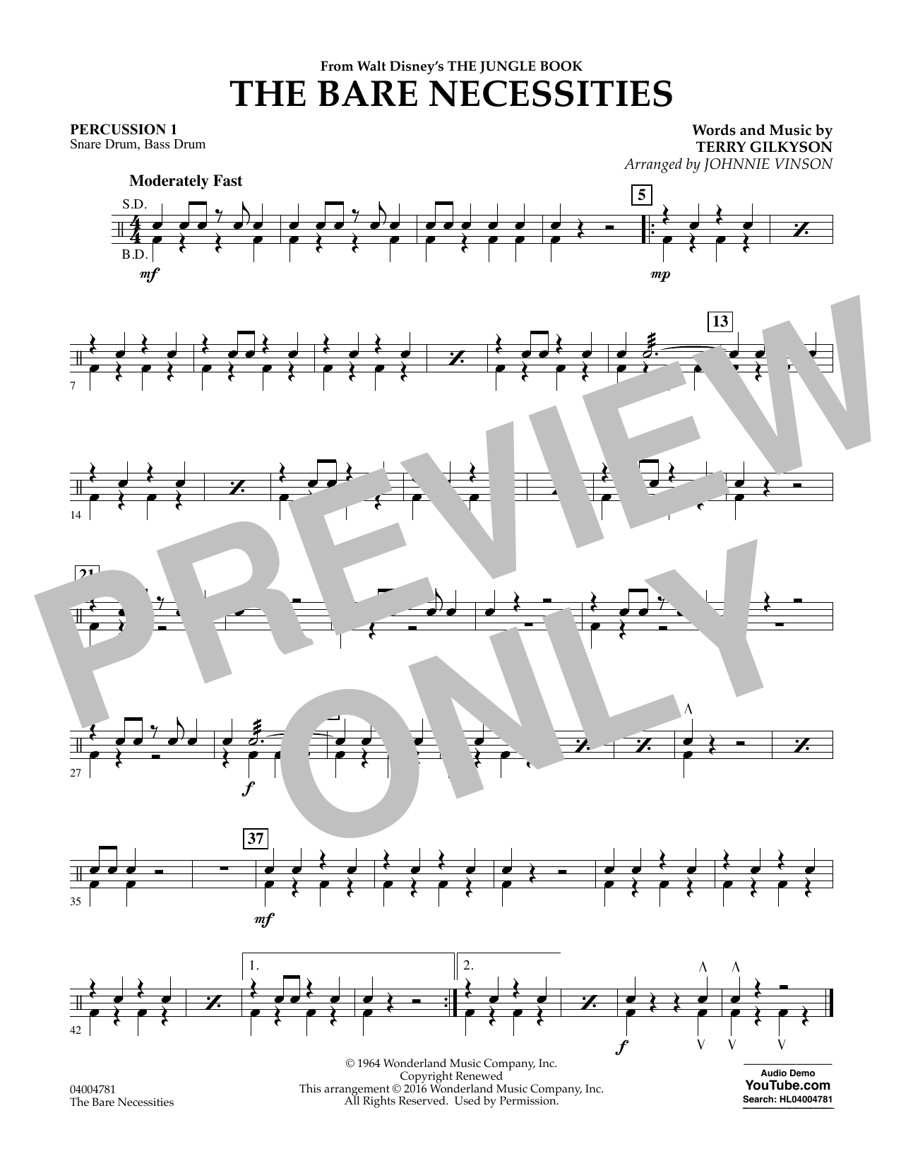 The Bare Necessities - Percussion 1 (Concert Band)