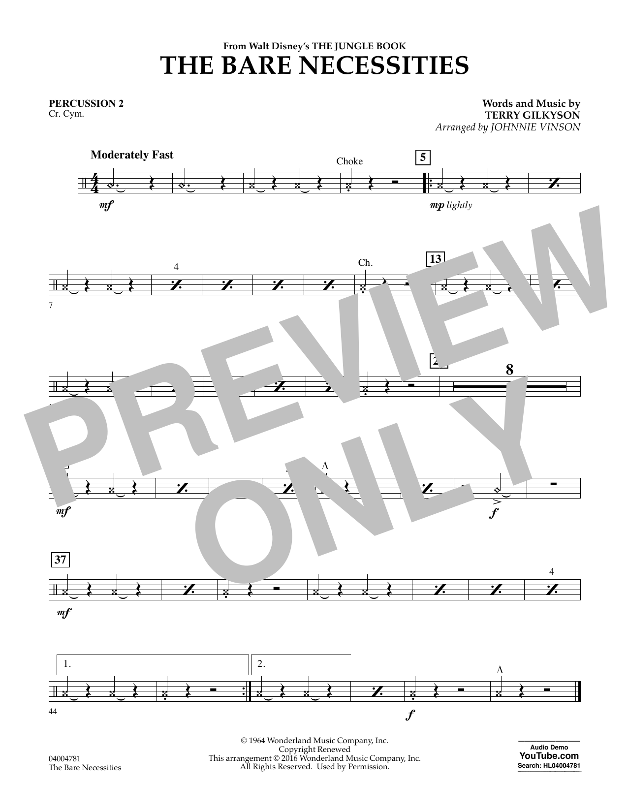 The Bare Necessities - Percussion 2 (Concert Band)
