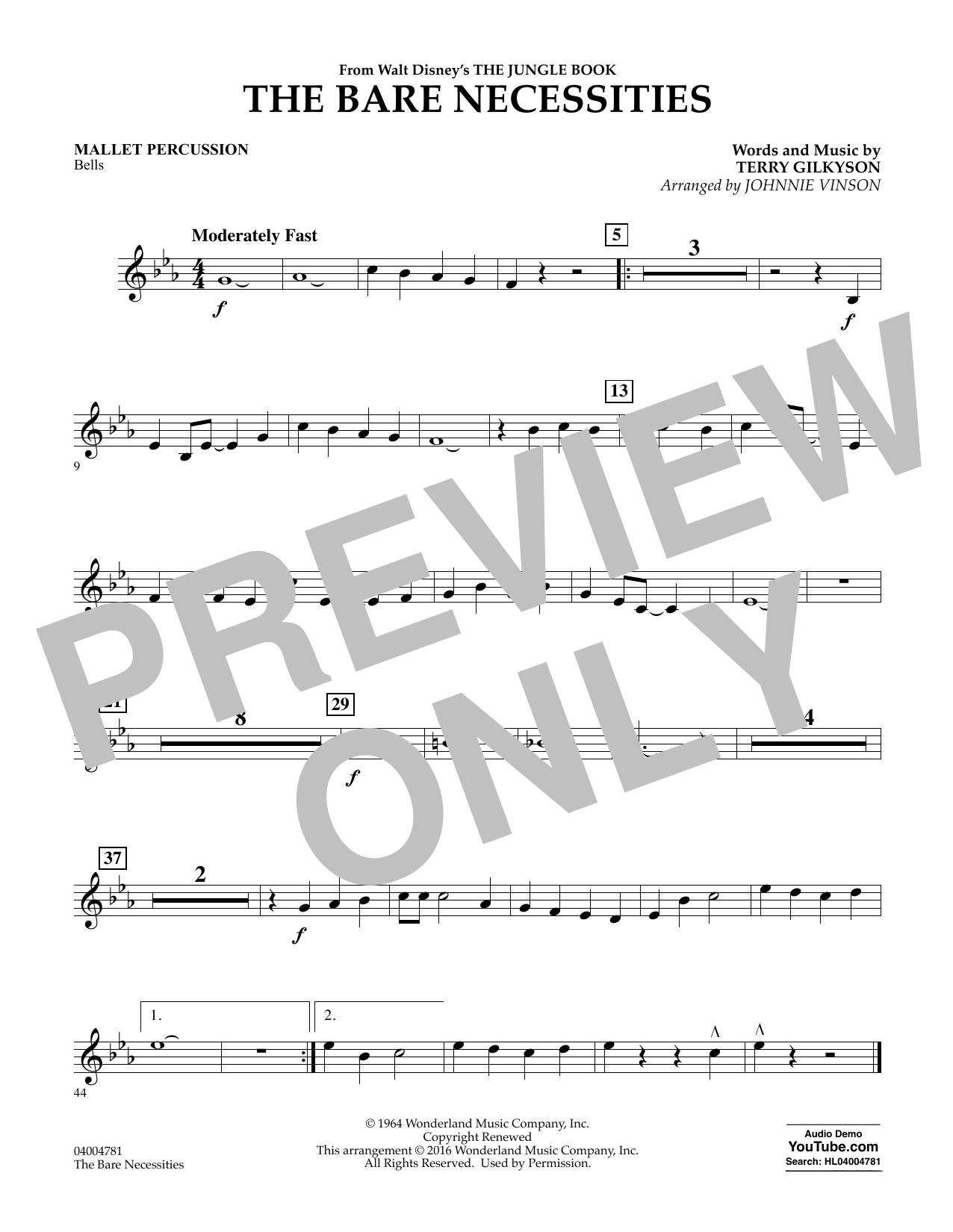 The Bare Necessities - Mallet Percussion (Concert Band)