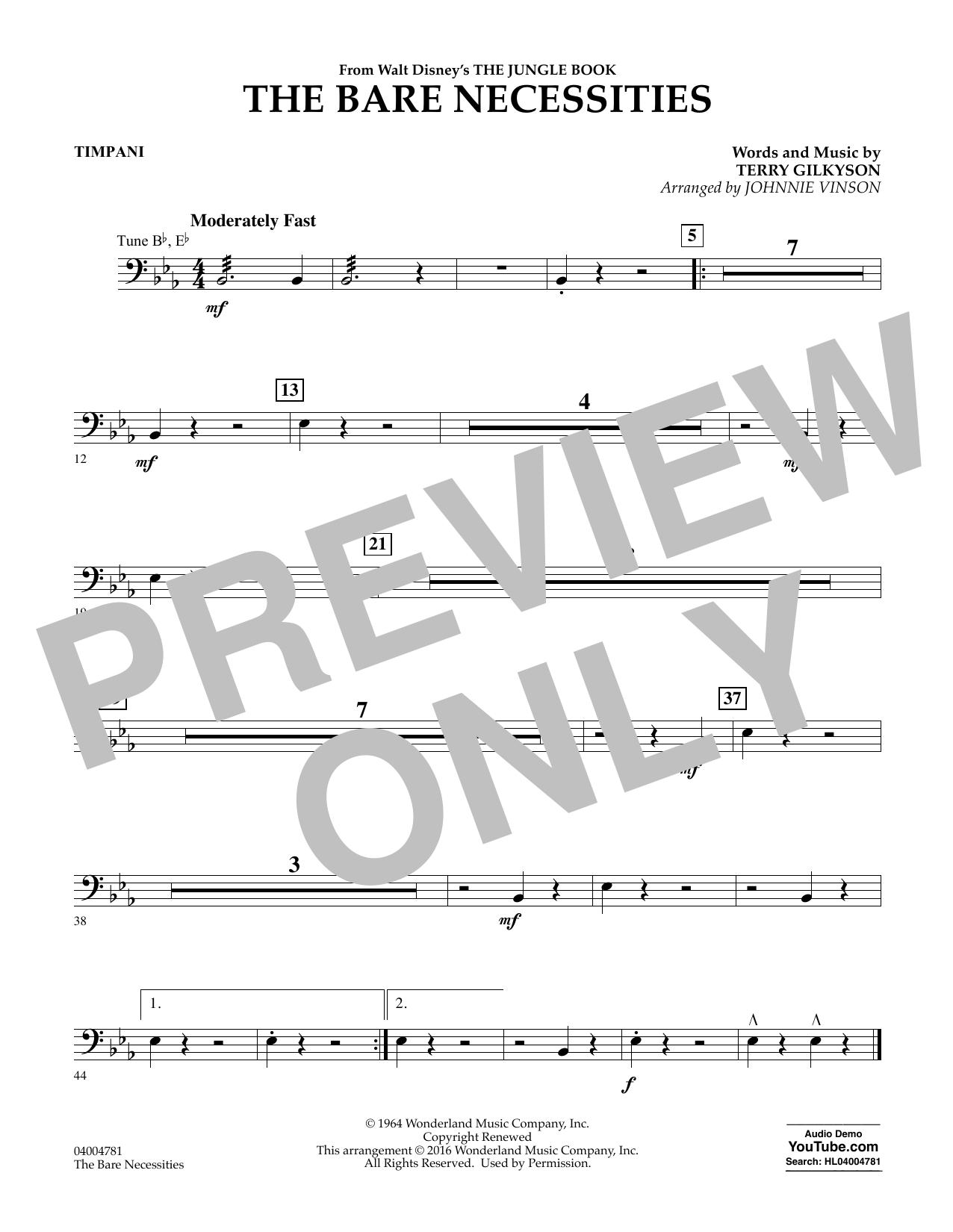 The Bare Necessities - Timpani (Concert Band)