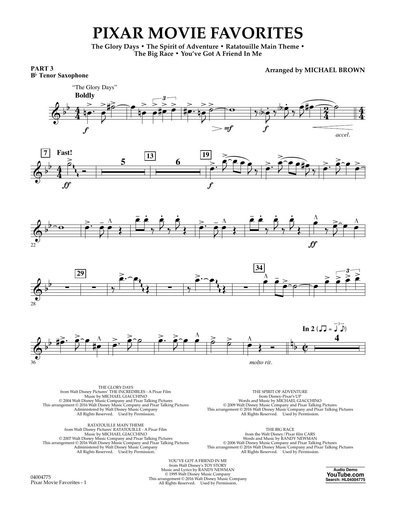 Pixar Movie Favorites - Pt.3 - Bb Tenor Saxophone (Flex-Band)
