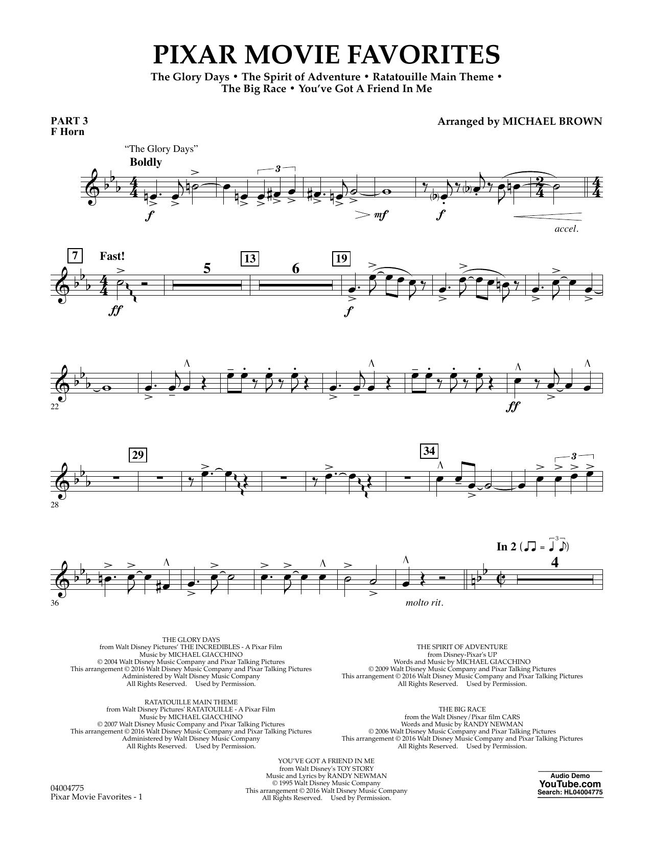 Pixar Movie Favorites - Pt.3 - F Horn (Flex-Band)