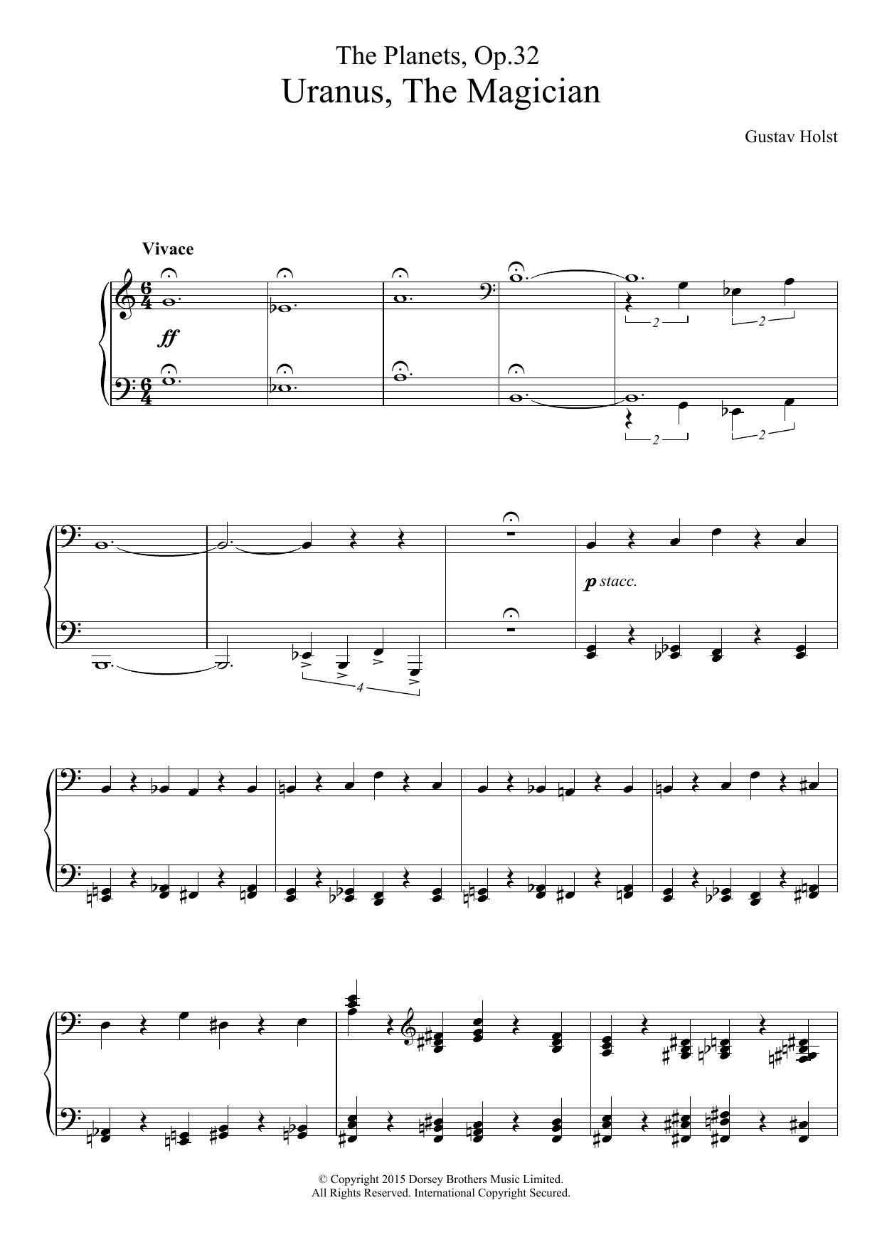 The Planets, Op. 32 - Uranus, The Magician Sheet Music