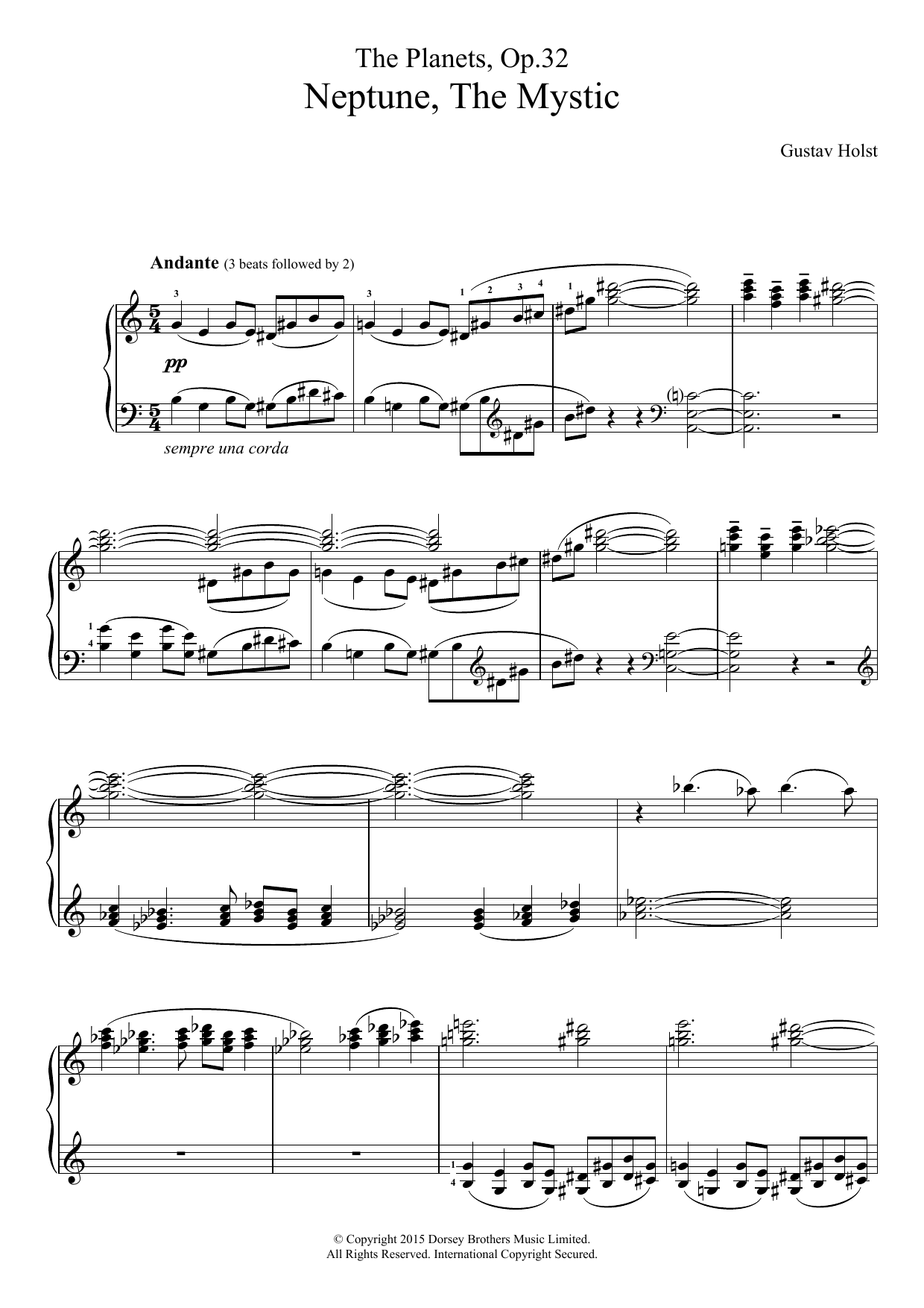 The Planets, Op. 32 - Neptune, The Mystic Sheet Music