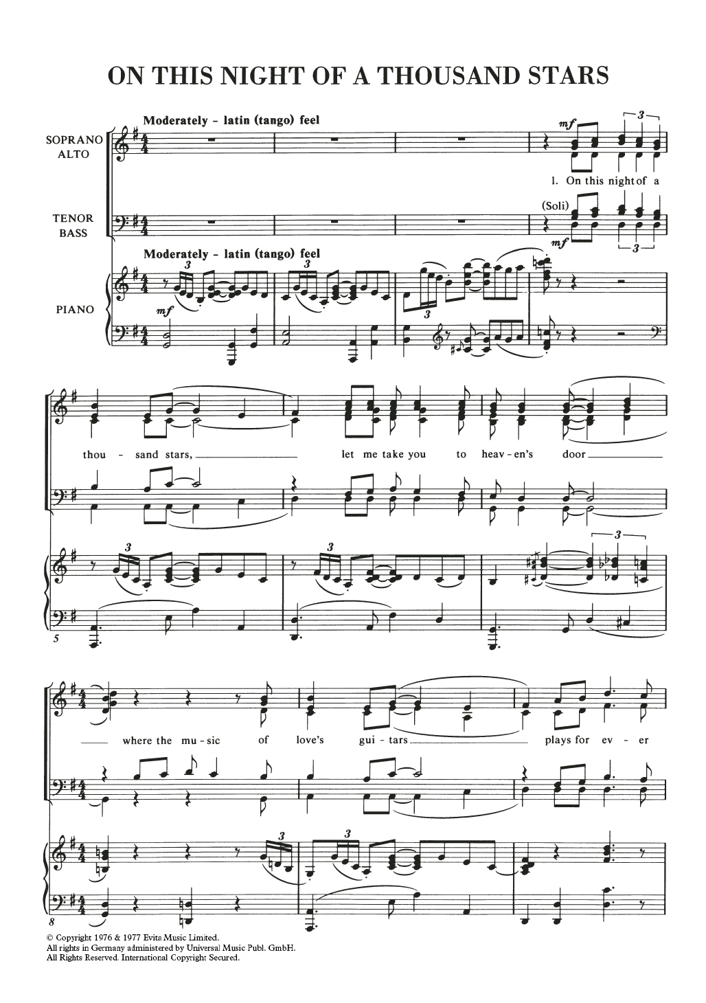 On This Night Of A Thousand Stars Sheet Music