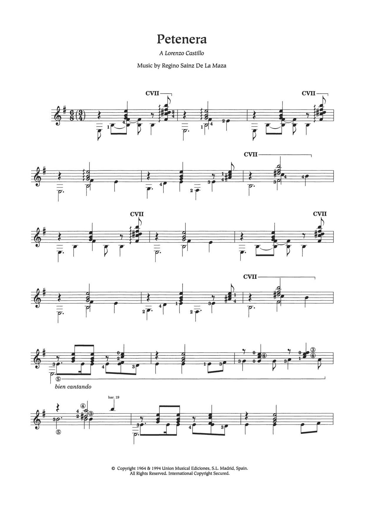 Petenera Sheet Music