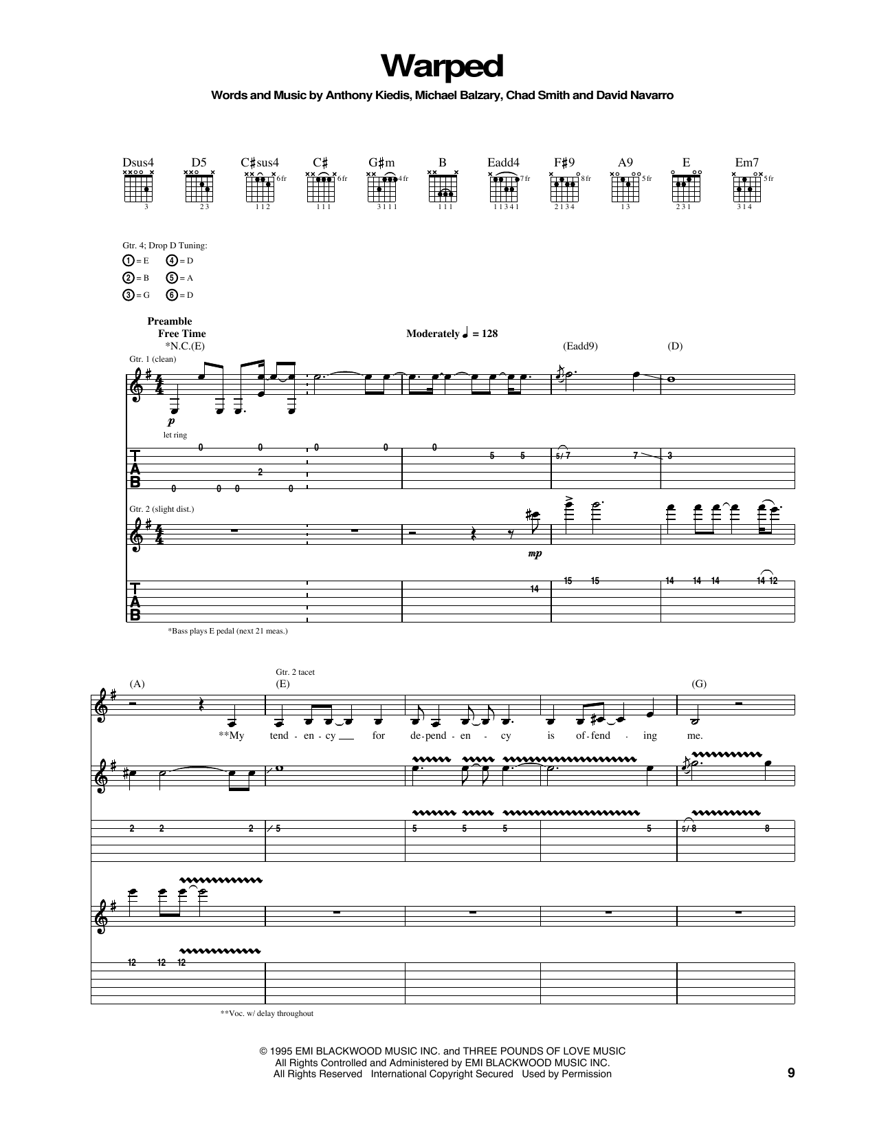 Tablature guitare Warped de Red Hot Chili Peppers - Tablature Guitare