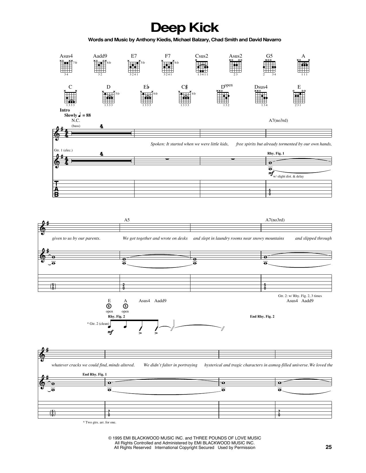 Tablature guitare Deep Kick de Red Hot Chili Peppers - Tablature Guitare