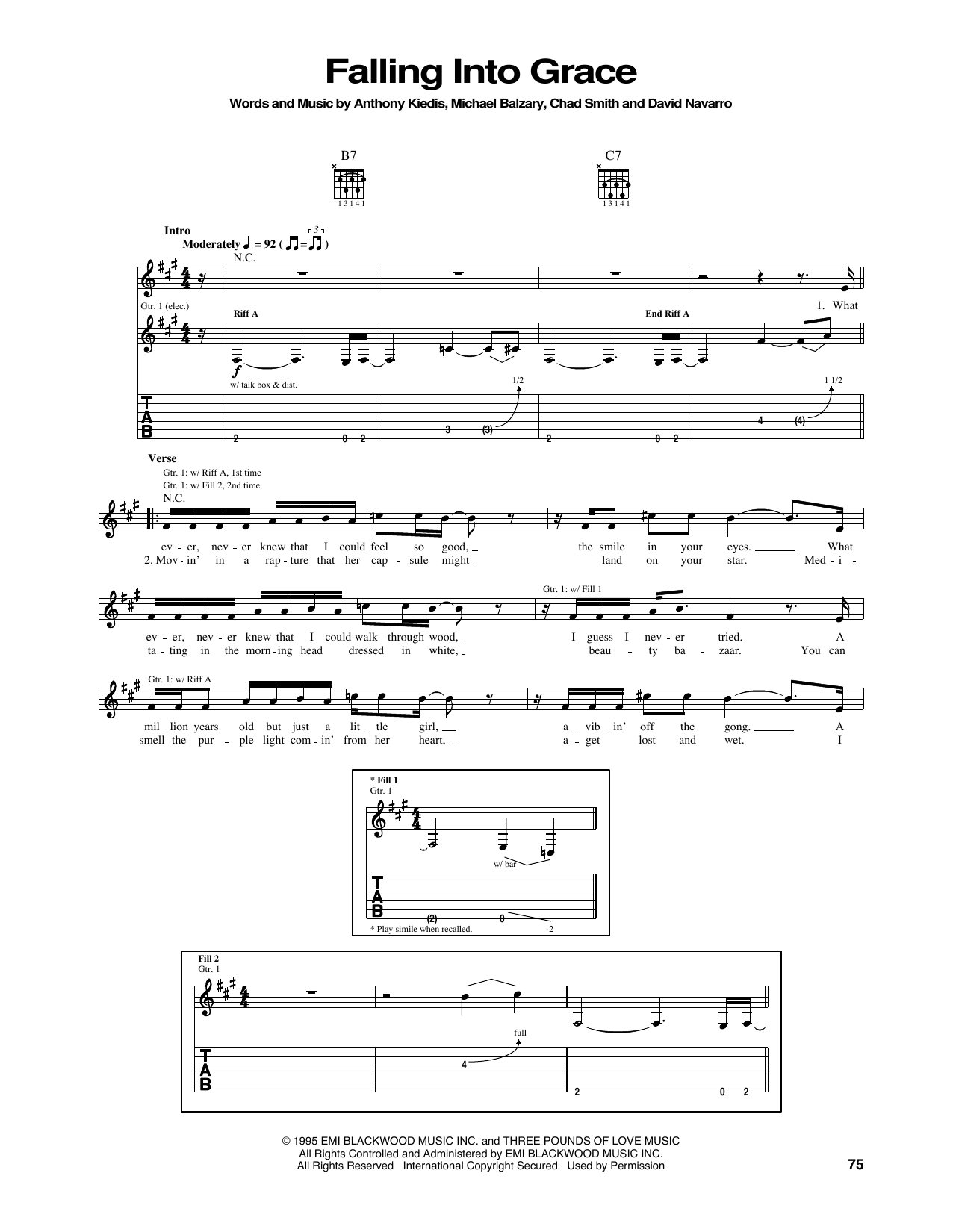 Tablature guitare Falling Into Grace de Red Hot Chili Peppers - Tablature Guitare
