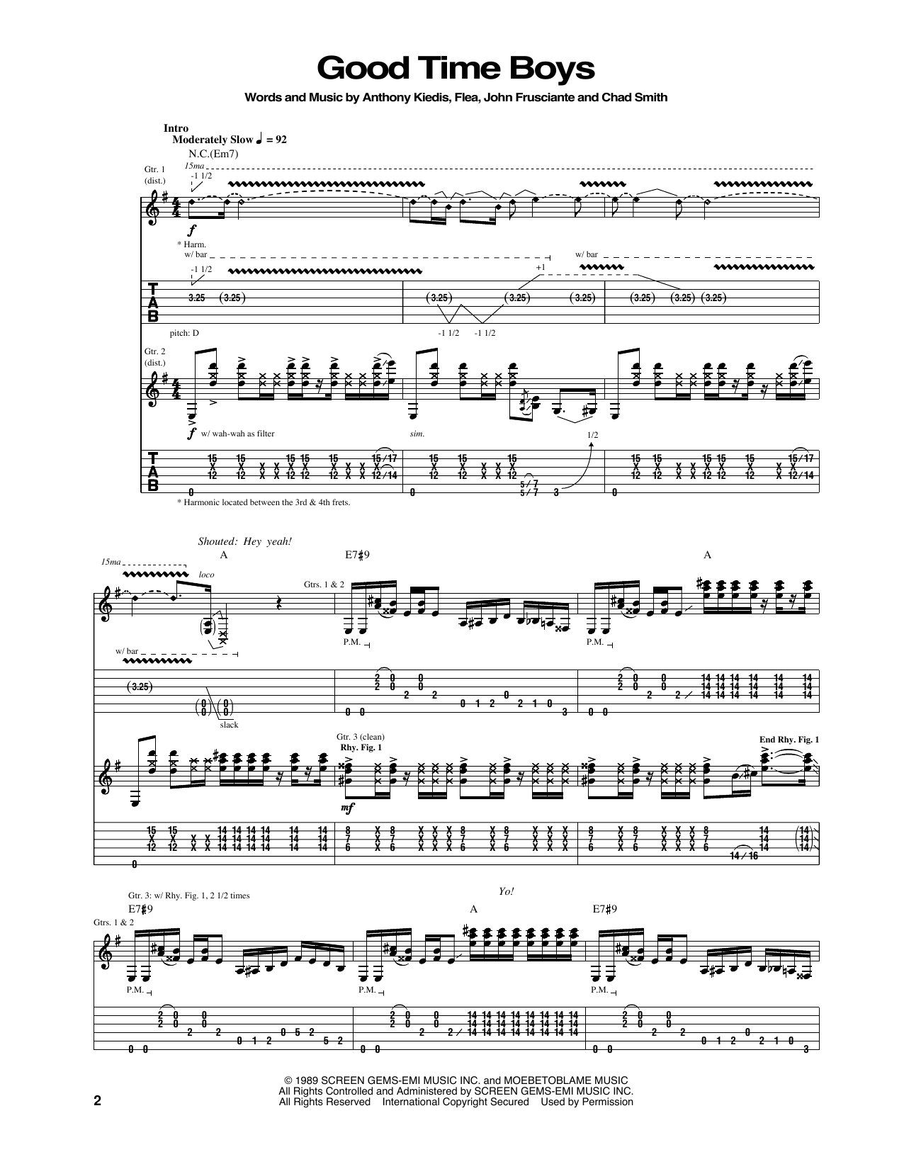 Good Time Boys Sheet Music