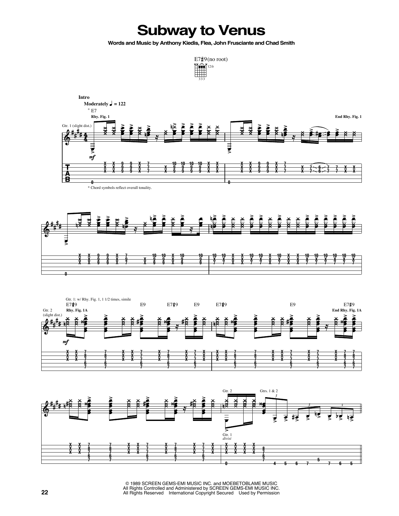 Subway To Venus Sheet Music